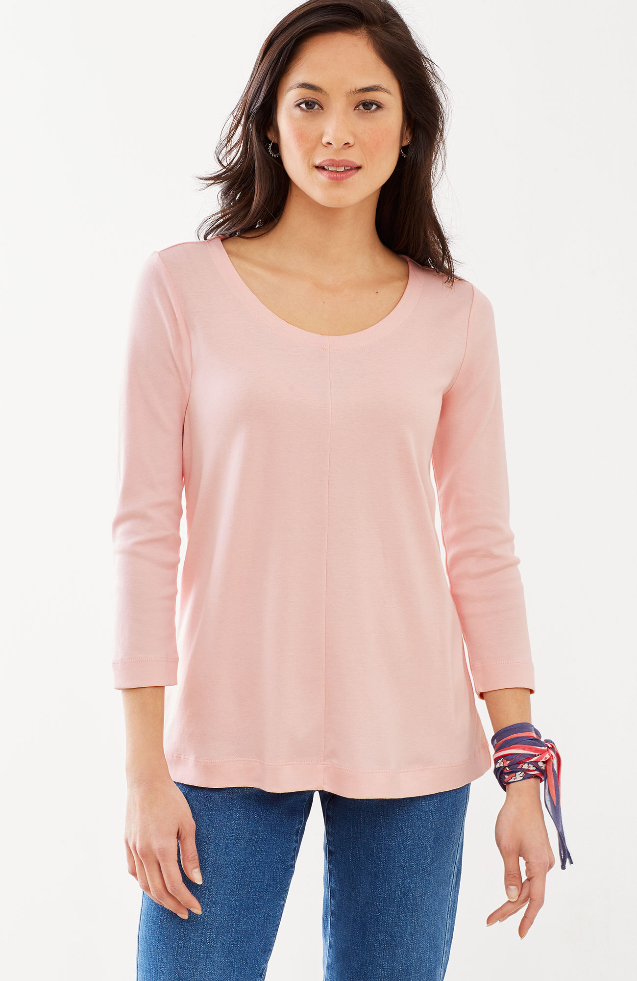 perfect pima 3/4-sleeve seamed tee