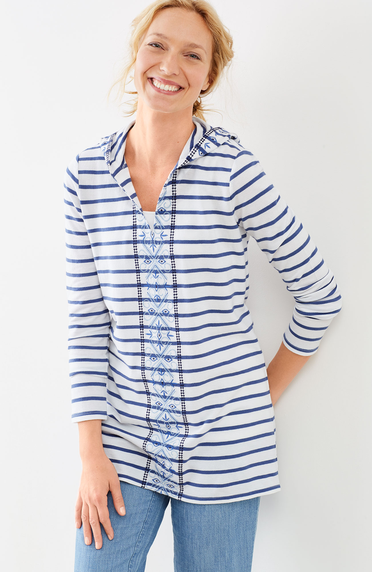 embroidered & striped hooded tunic
