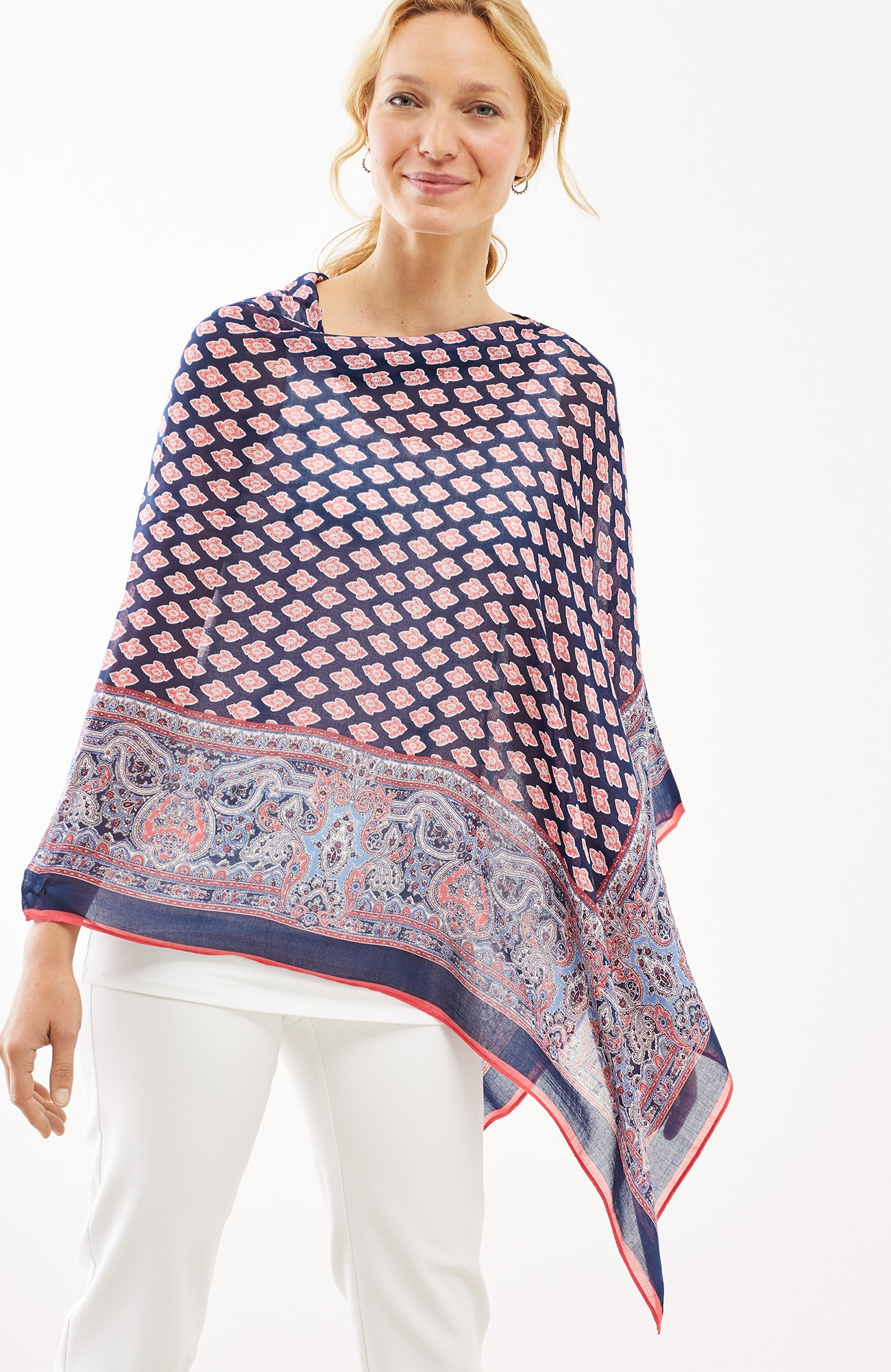 medallion-border scarf poncho