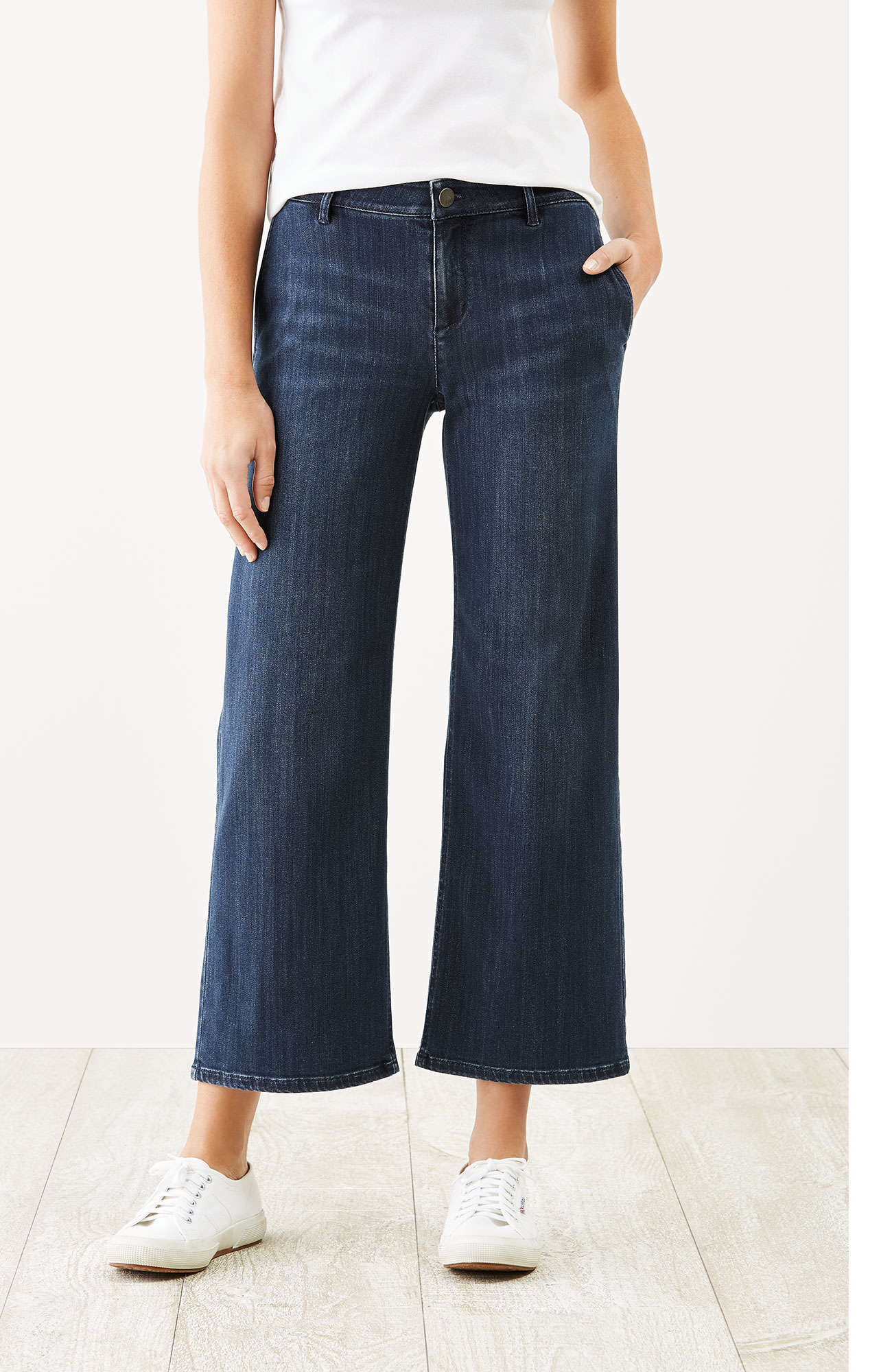 denim-stretch full-leg crops