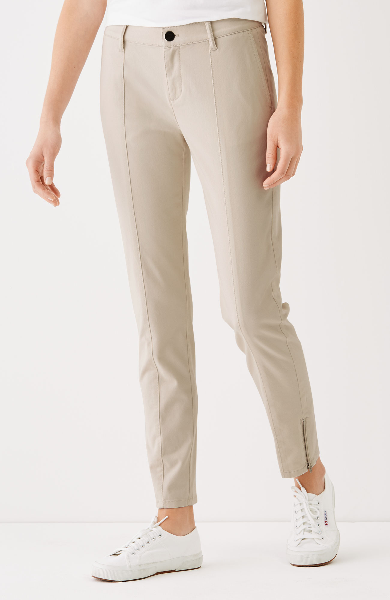 brushed-twill slim ankle pants