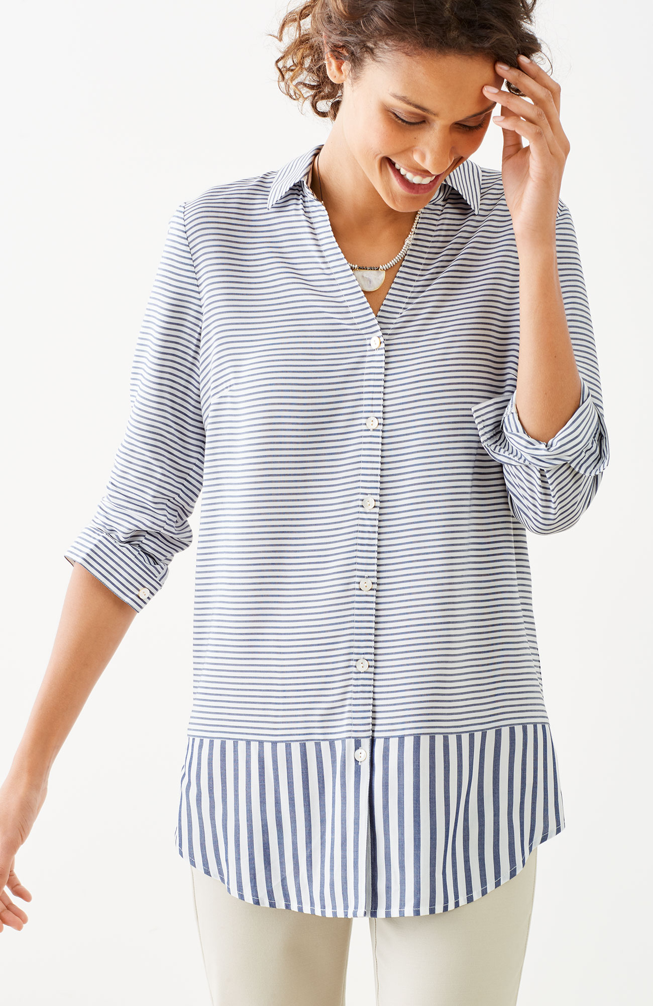 mixed-stripes shirttail tunic