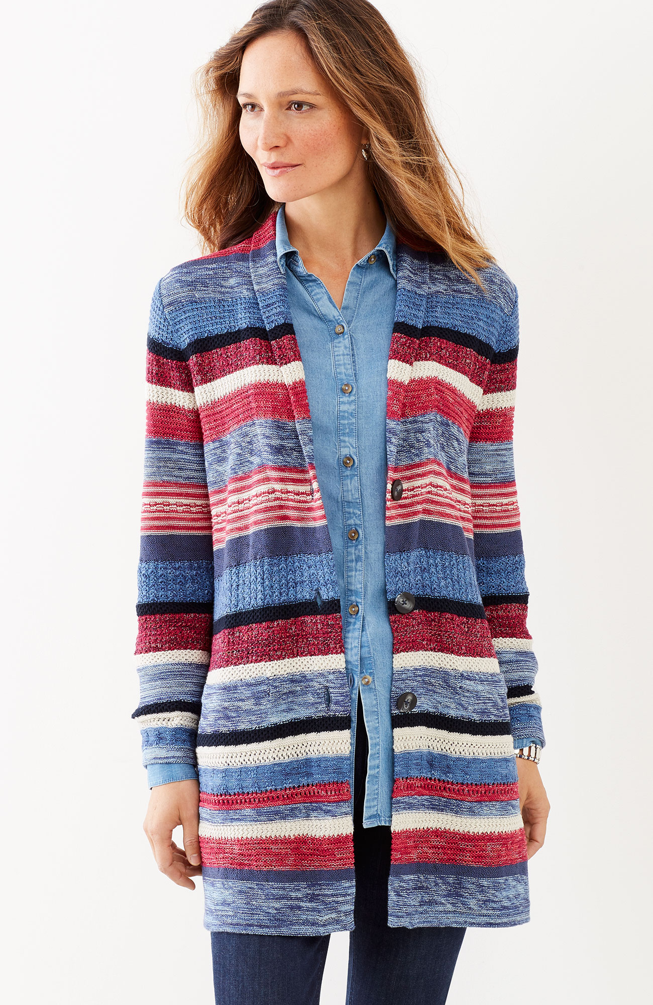 striped shawl-collar topper