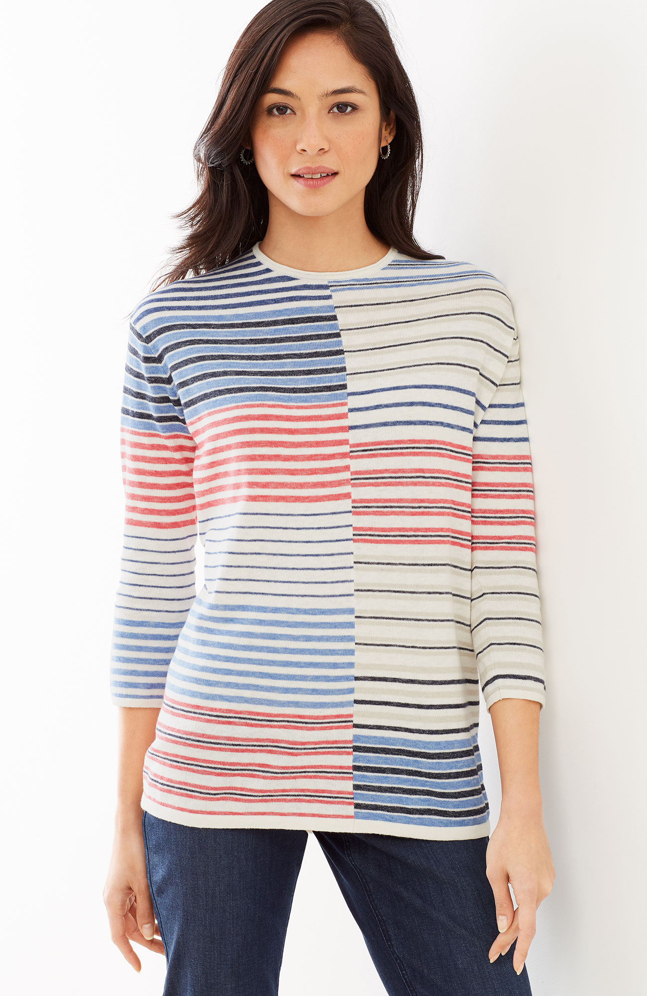 mixed-stripes easy pullover
