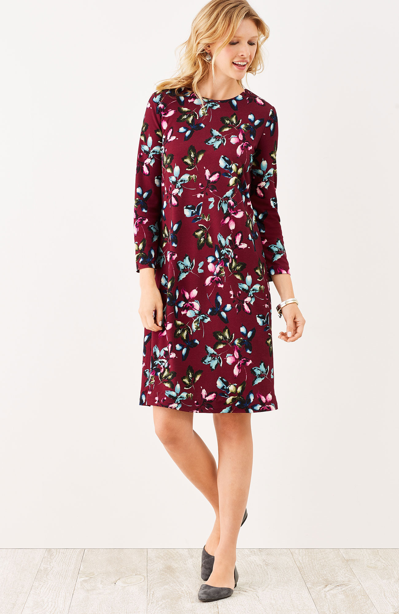 ponte knit leaf-print dress