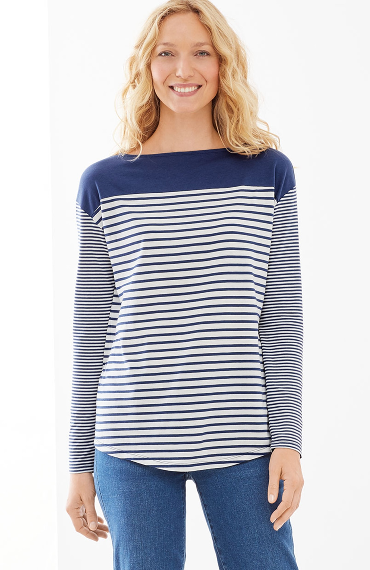 striped boat-neck easy tee