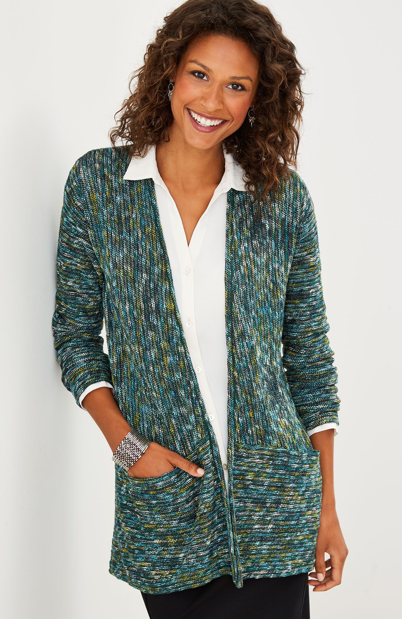 multistriped open-front cardigan