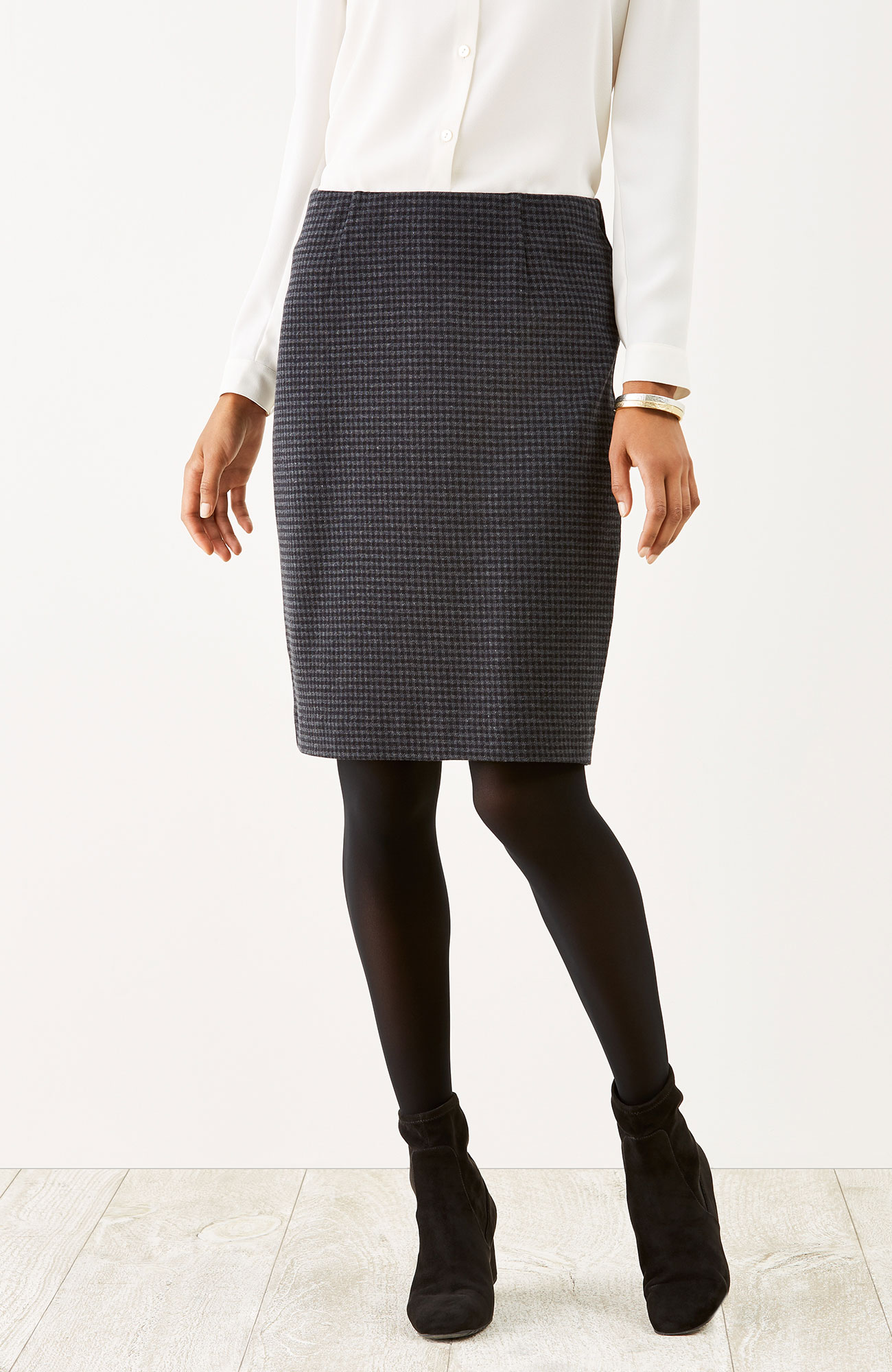 ponte knit gingham pencil skirt