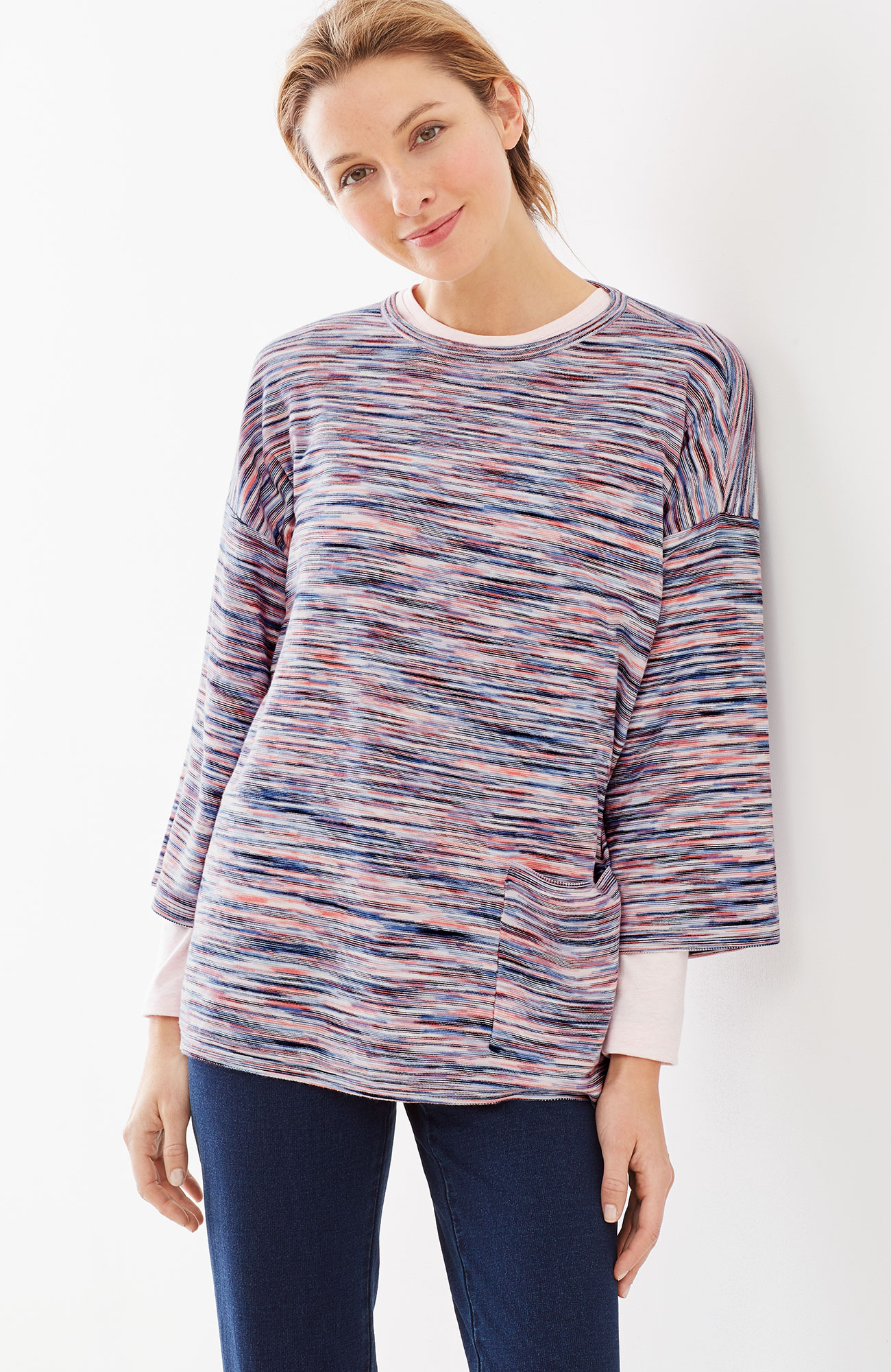 Pure Jill blurred-stripe pullover