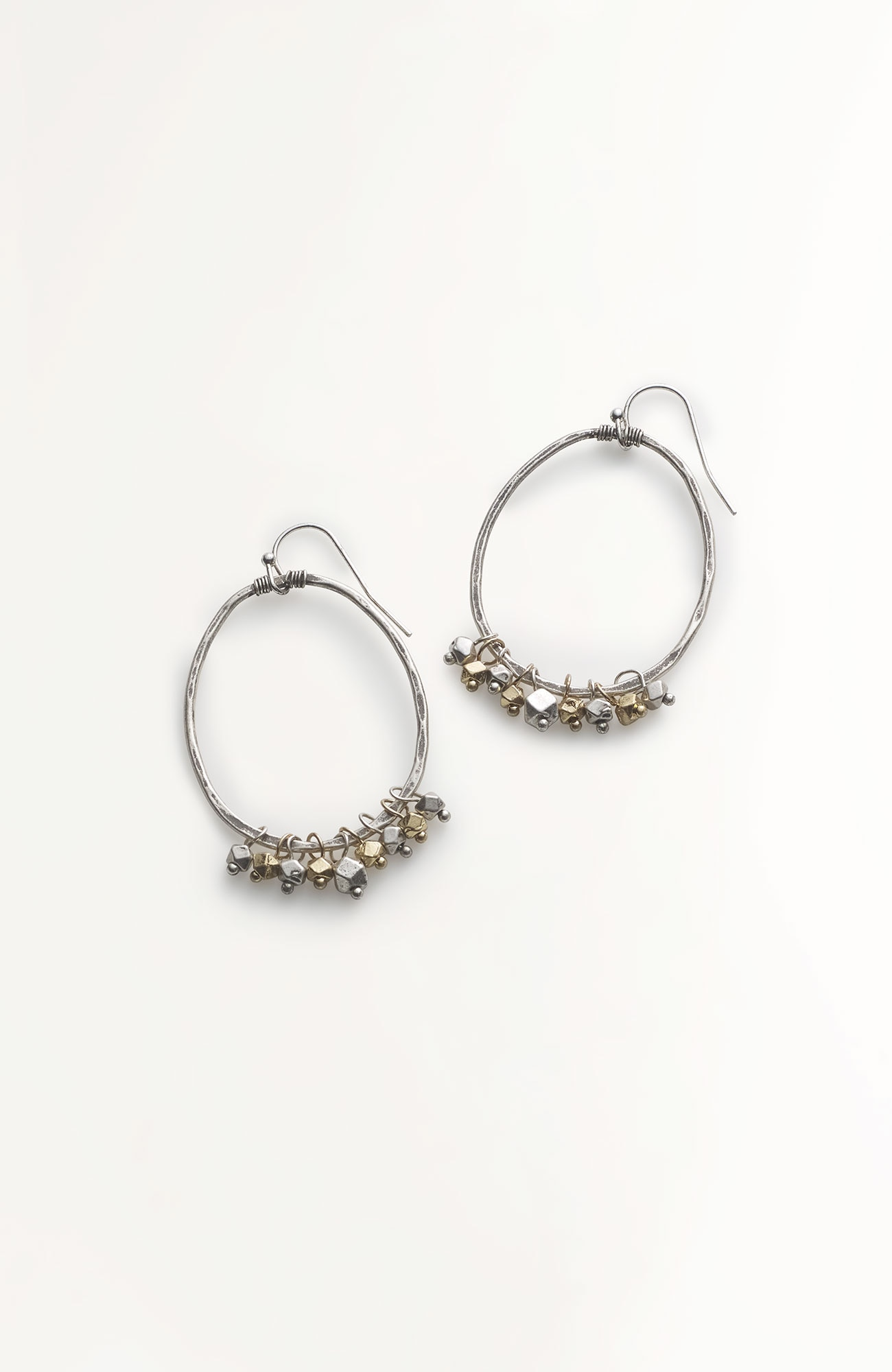 two-toned beaded hoops