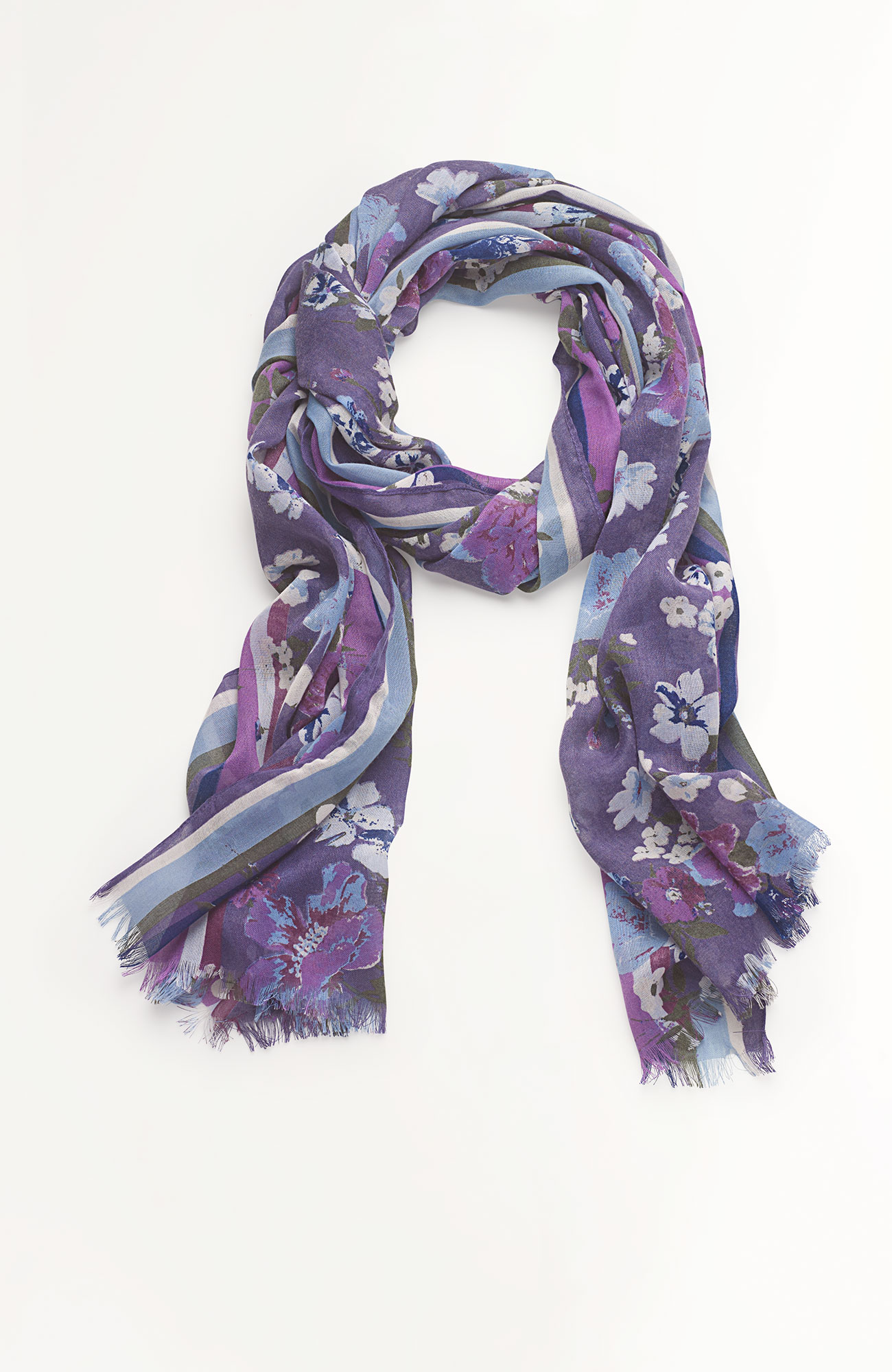 striped-border floral scarf