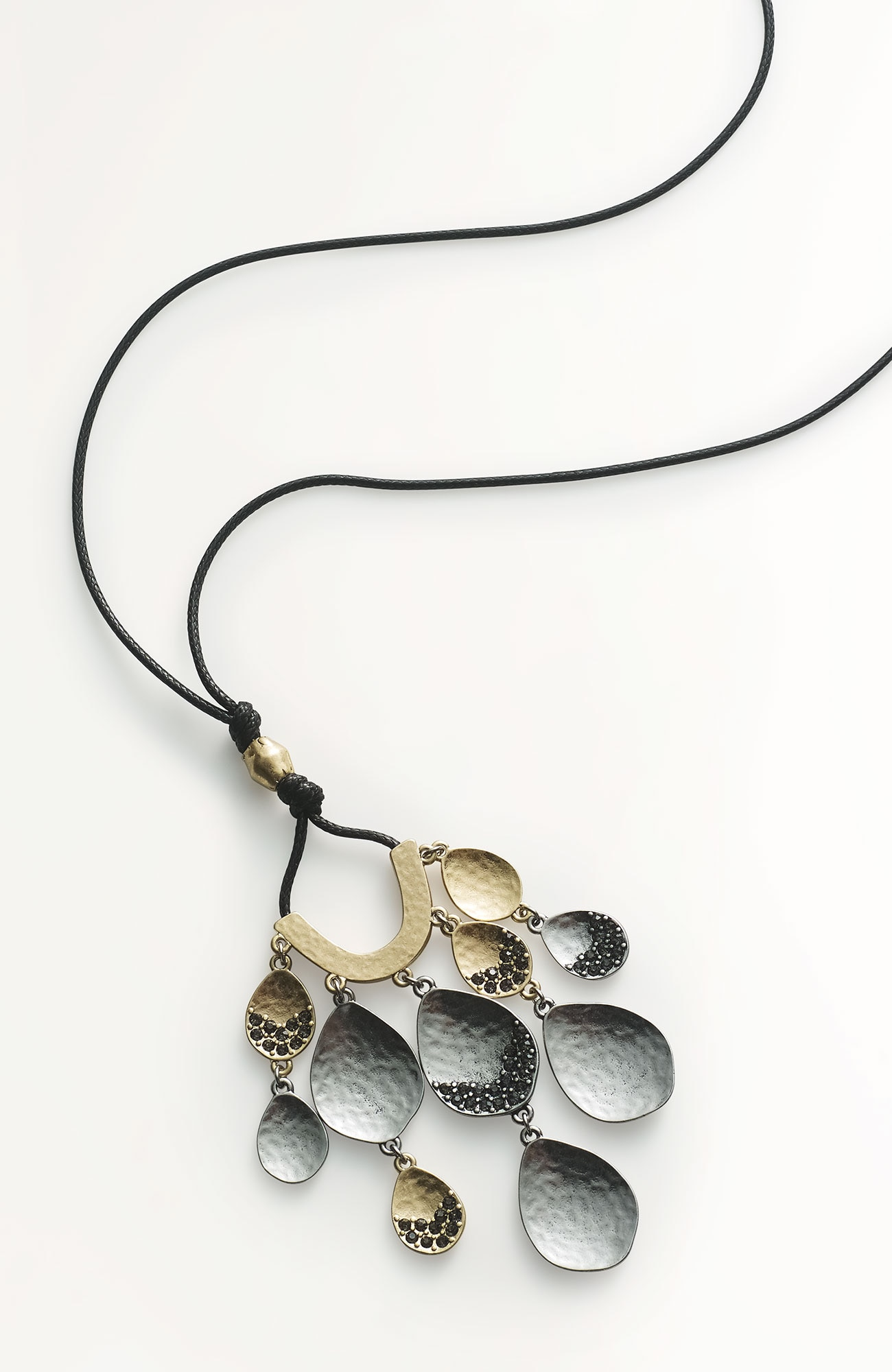 cascading pavé pendant necklace