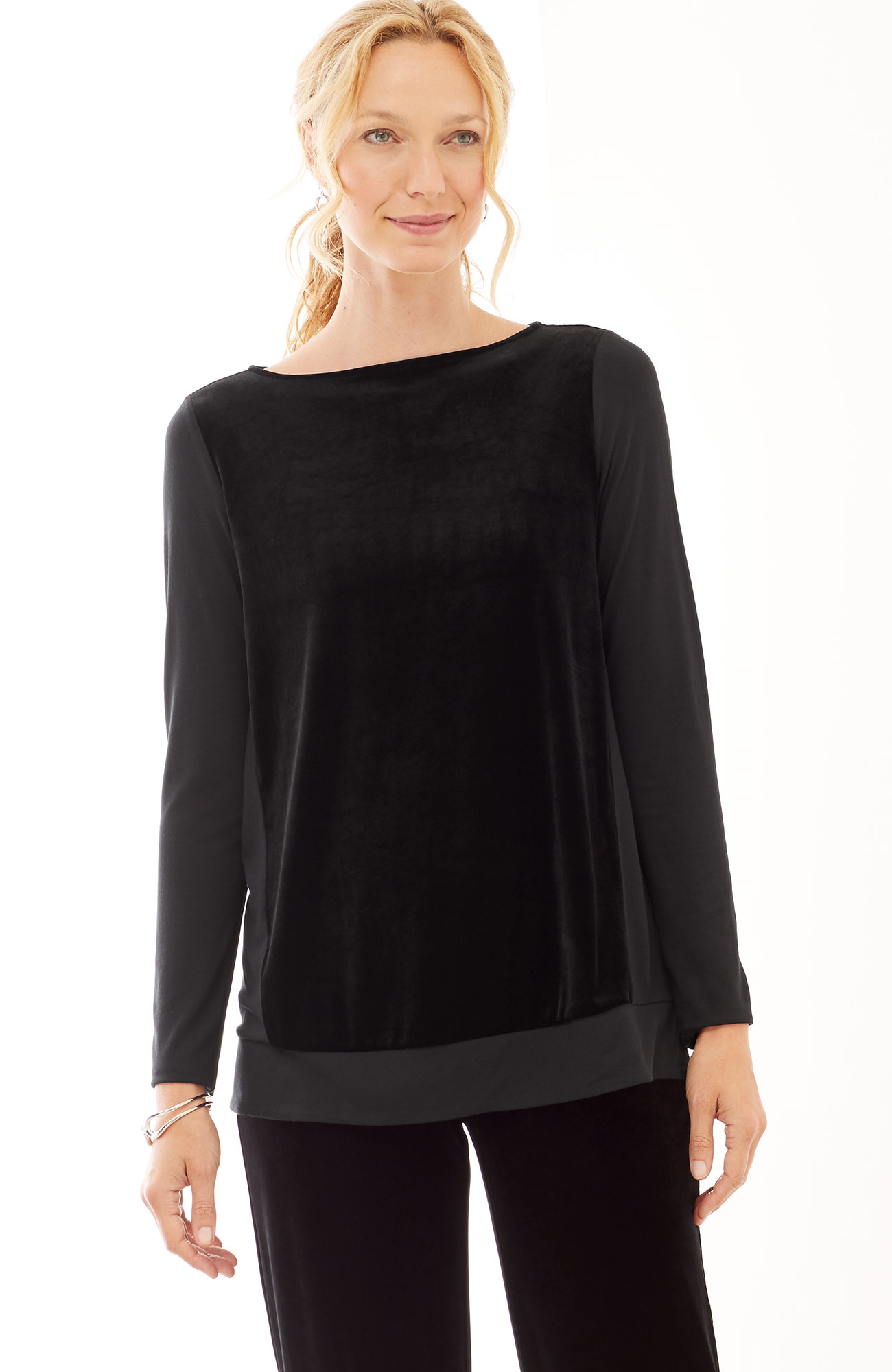 Wearever knit & velvet swing top