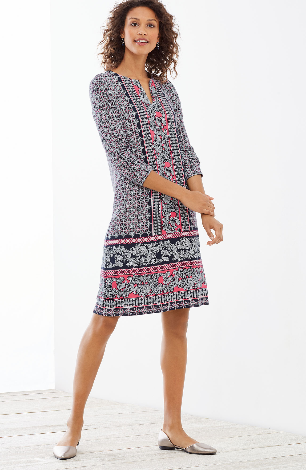 paisley-border printed knit dress