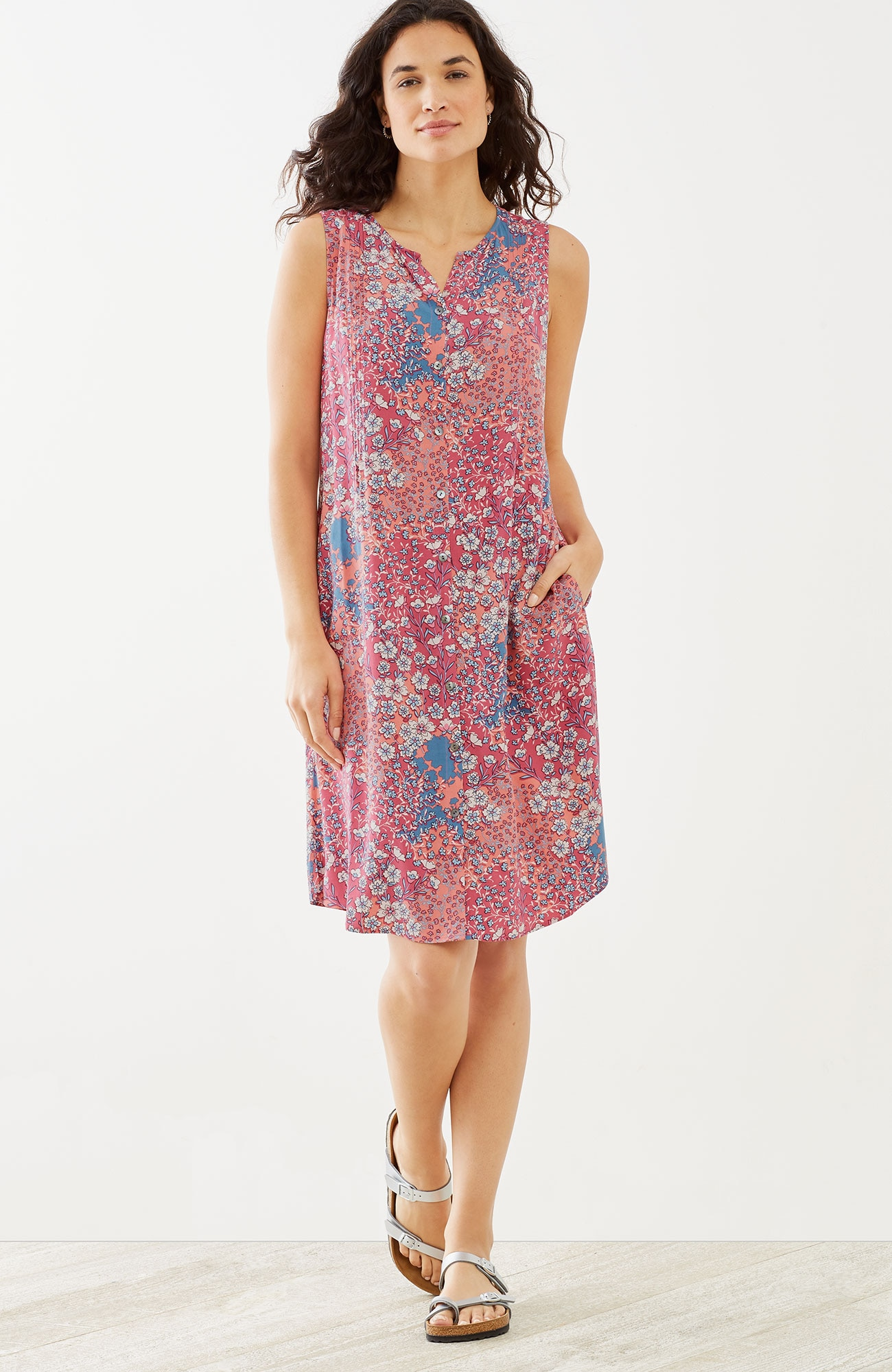 floral pintucked button-front dress