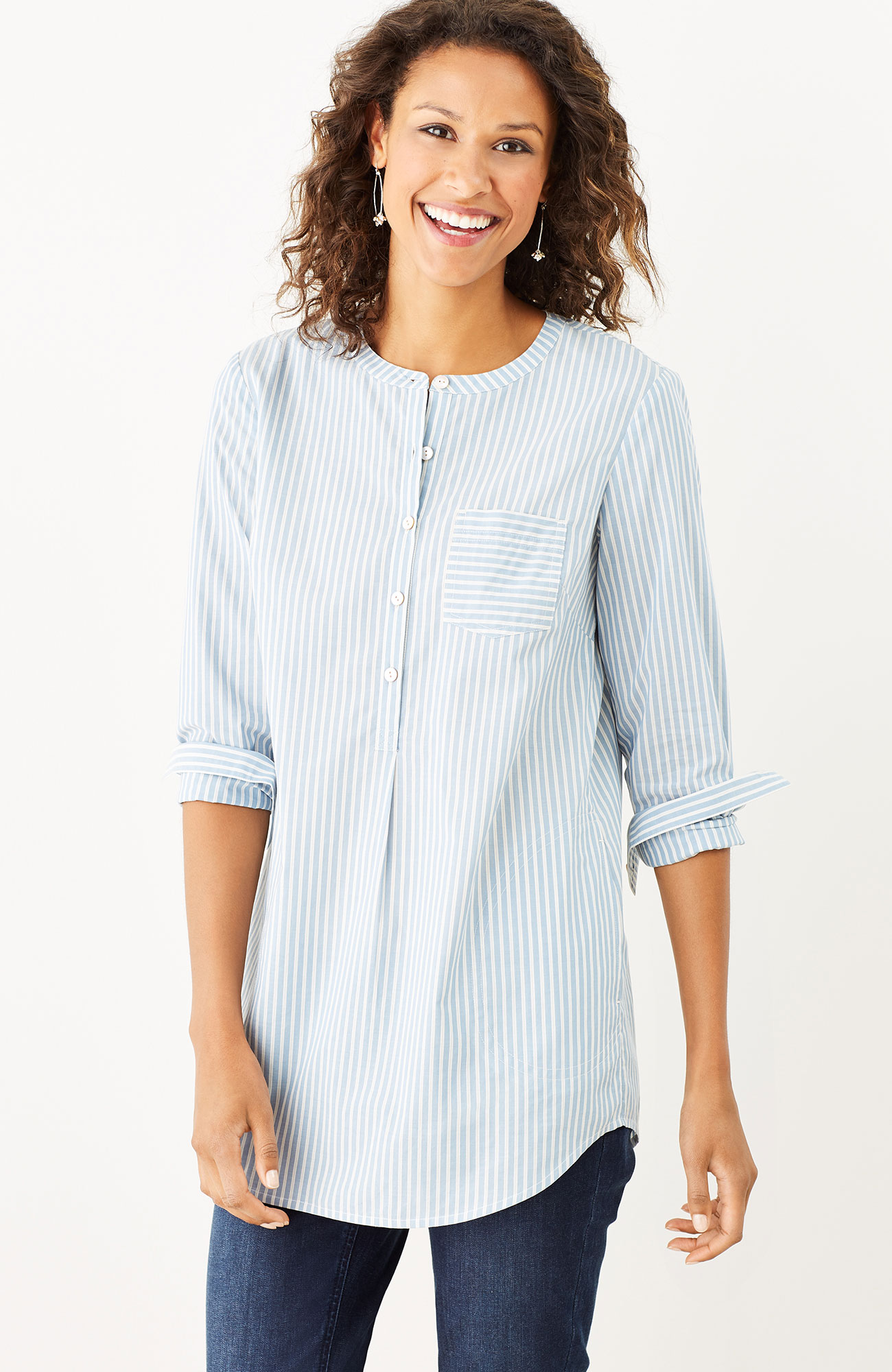 striped shirttail tunic