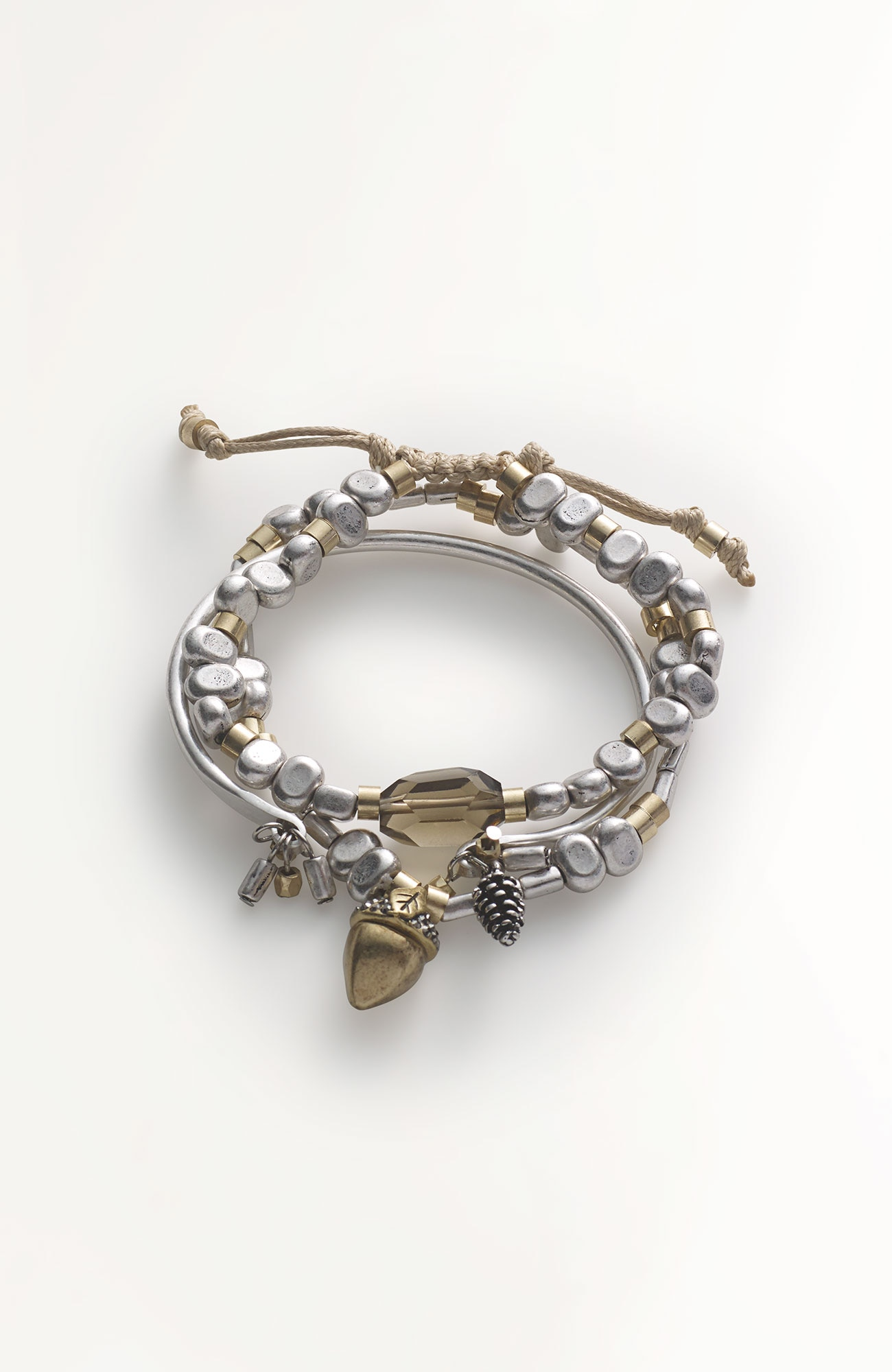 acorn & pinecone bracelet trio