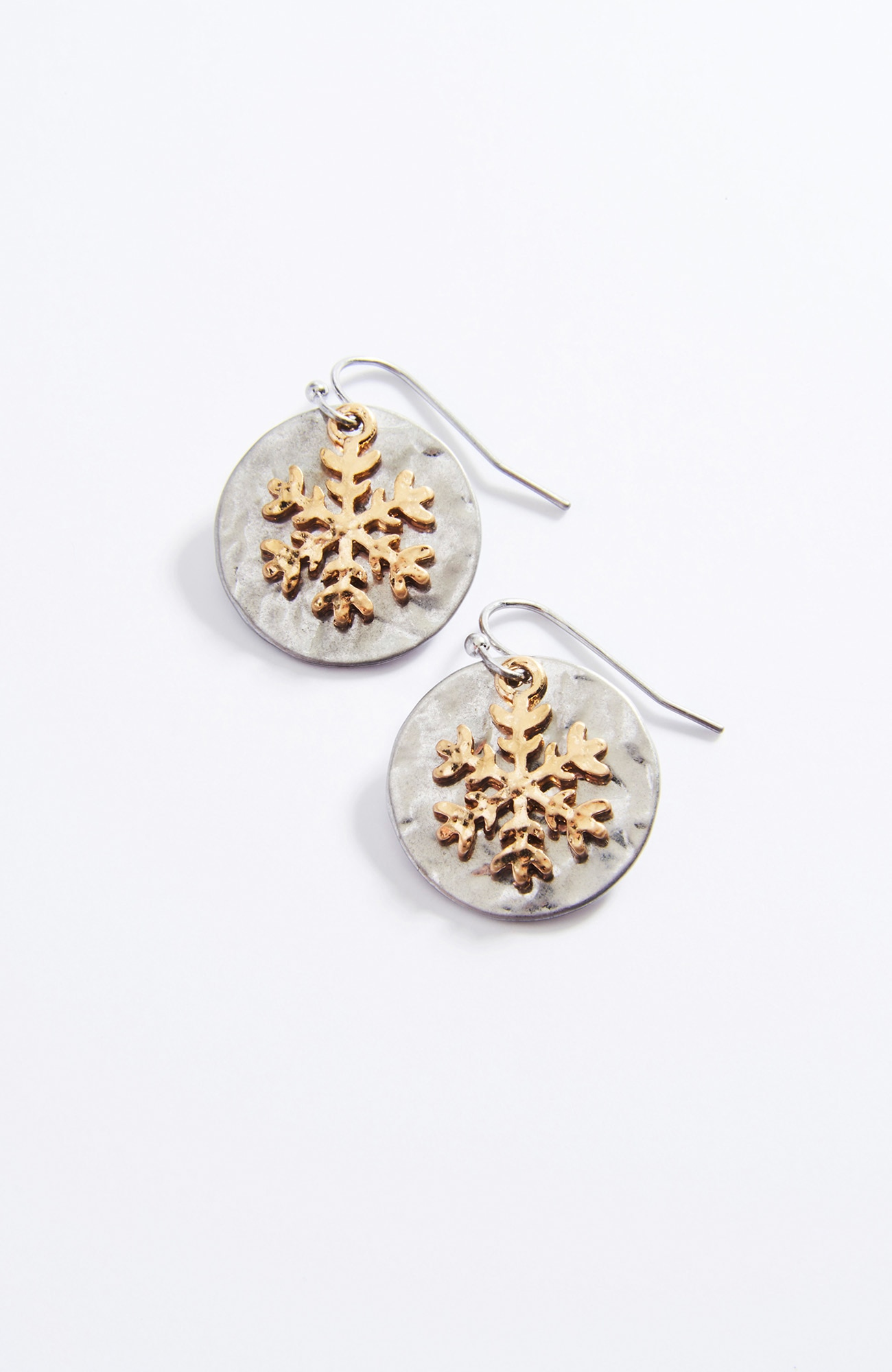 mixed-metal snowflake earrings