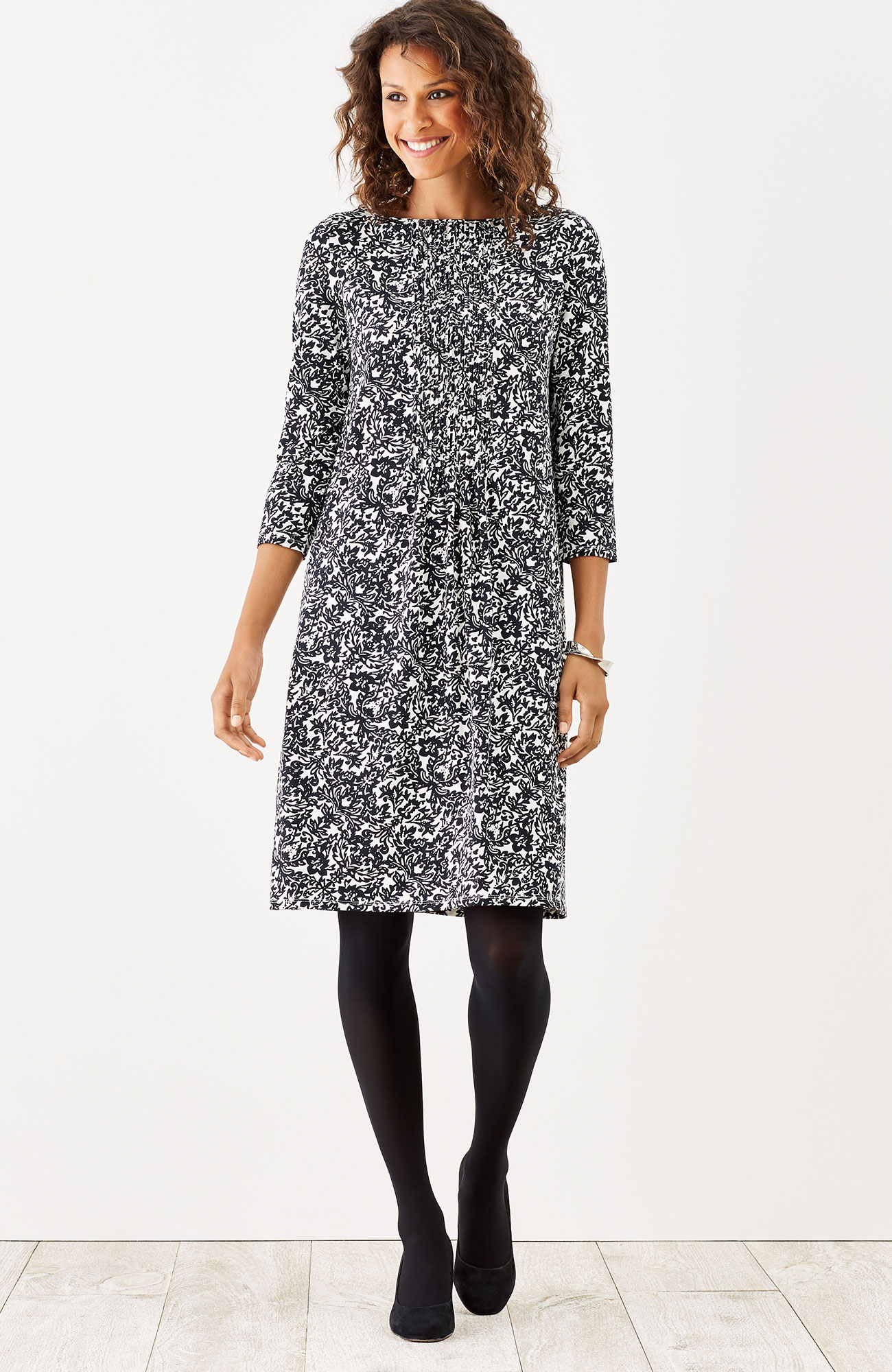 Wearever pintucked print dress