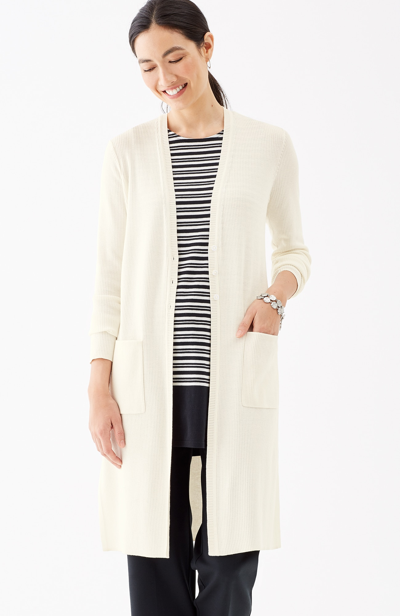 long button-front cardi