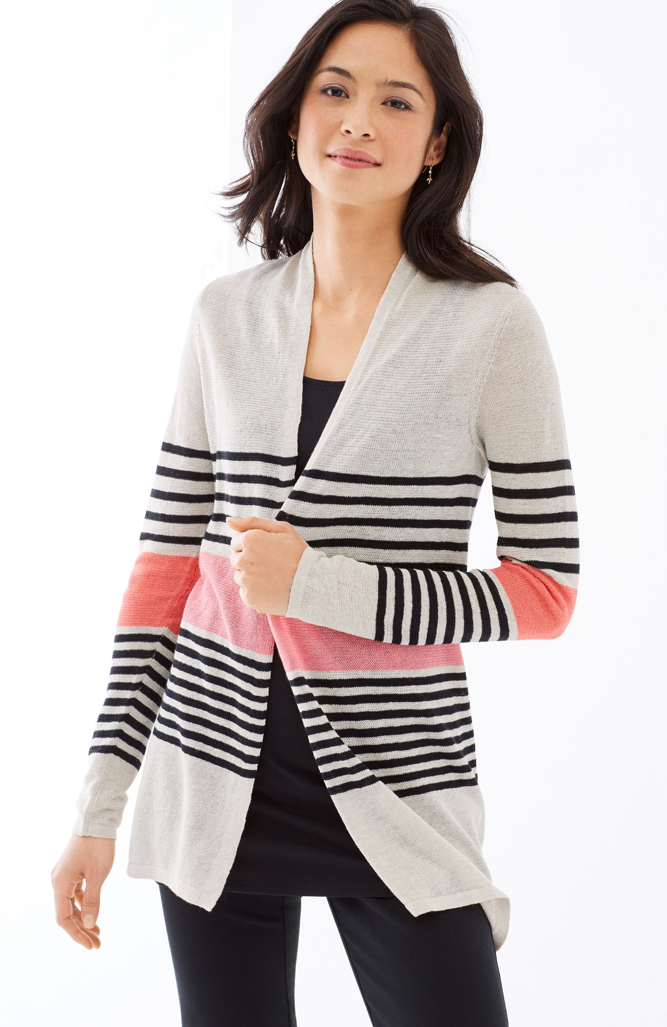 mixed-stripes draped cardi