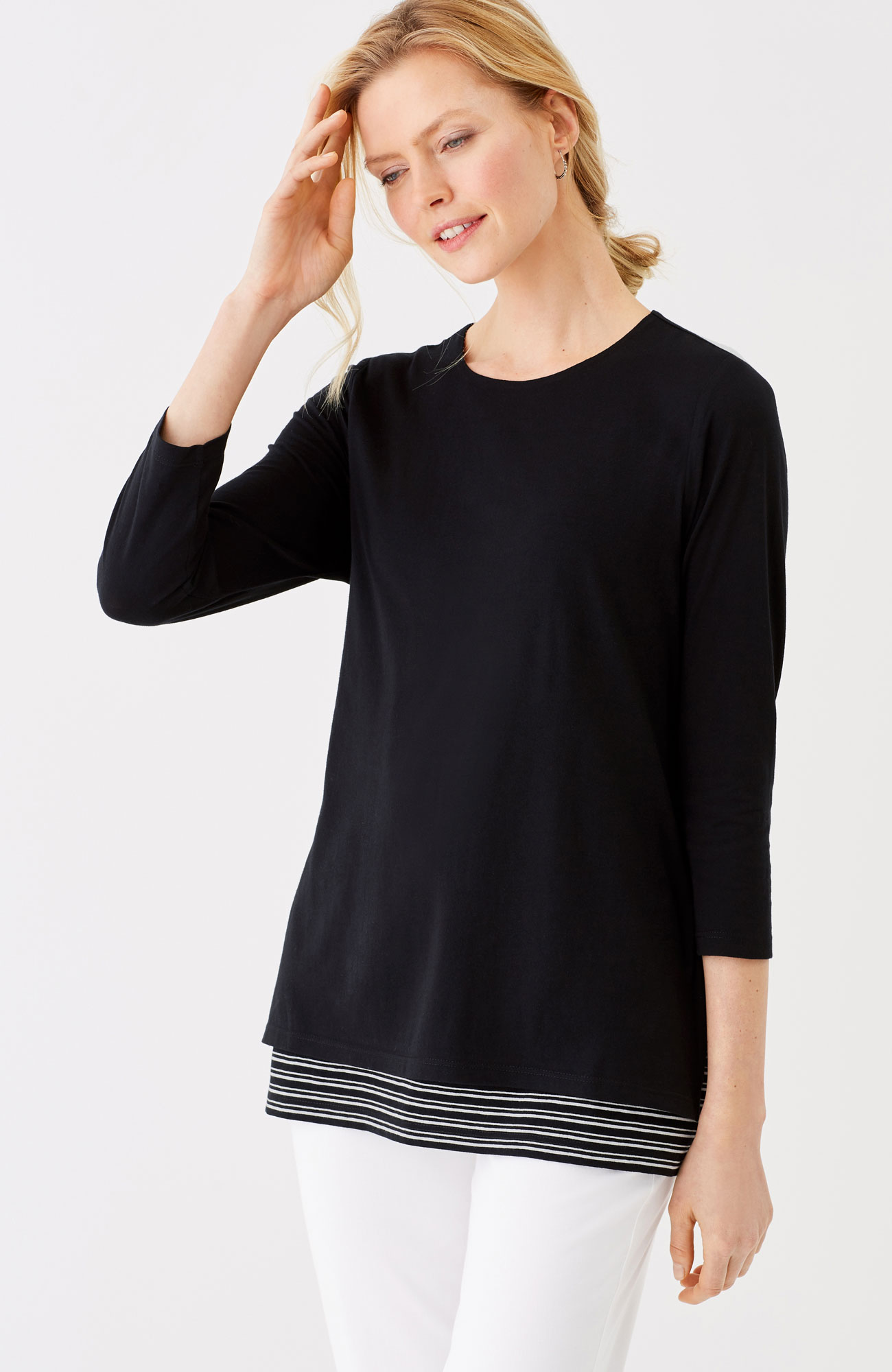 double-layer knit top
