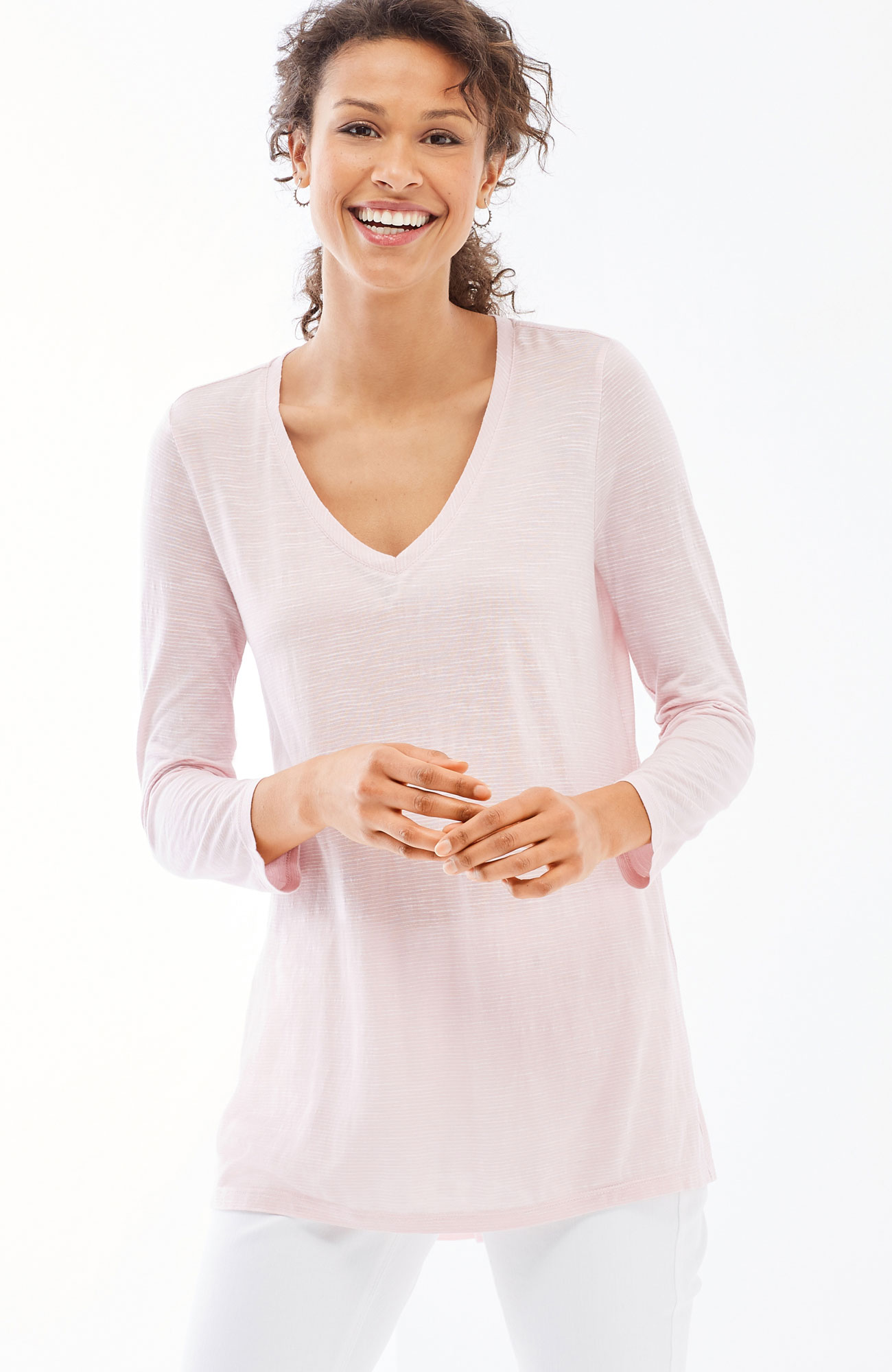 fine-stripe knit elliptical top