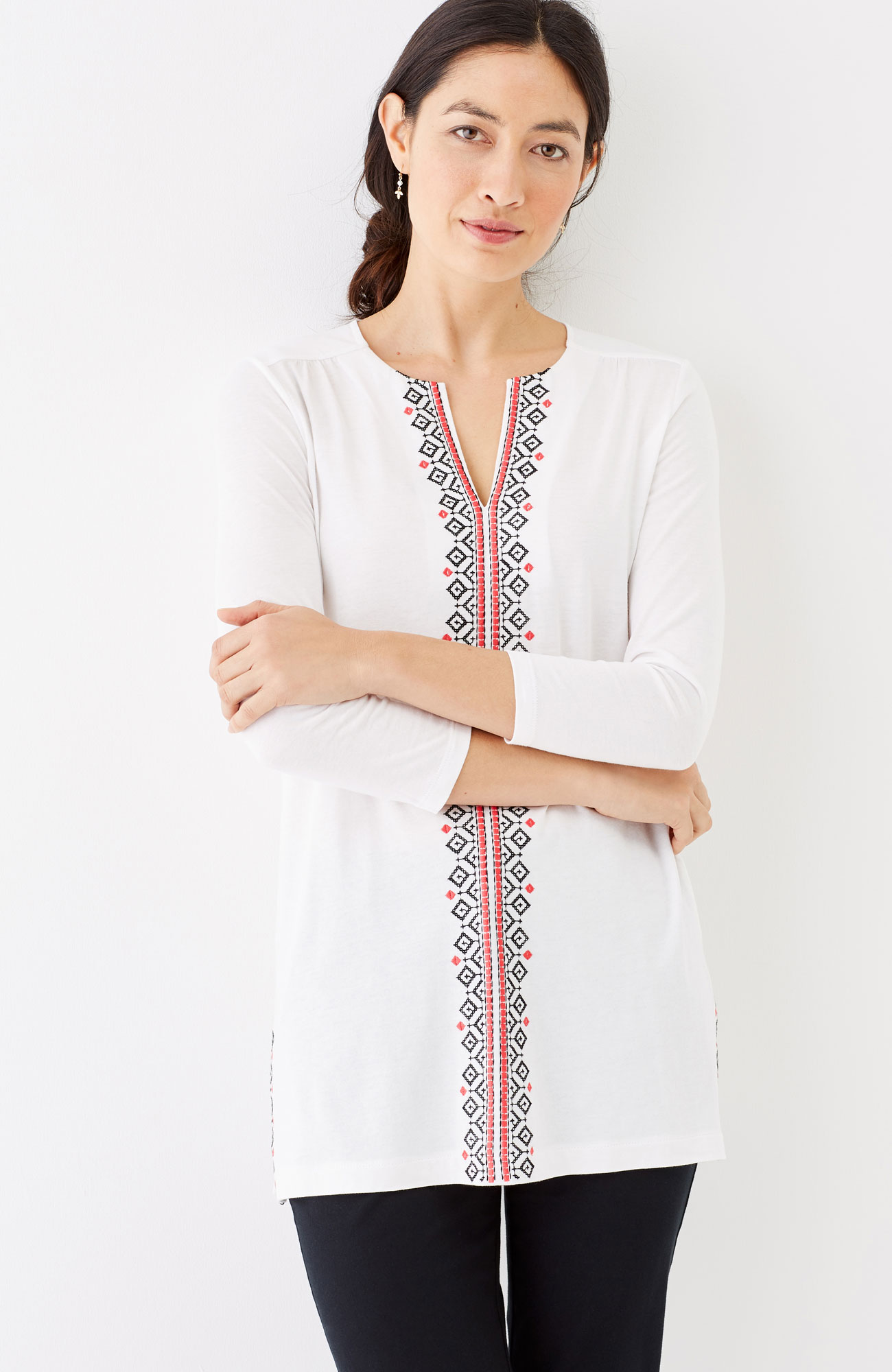 embroidered cotton & modal knit tunic