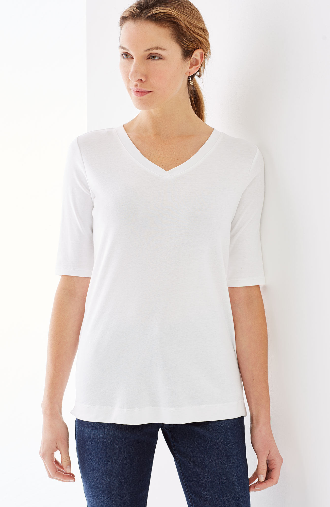 perfect pima V-neck elbow-sleeve tee