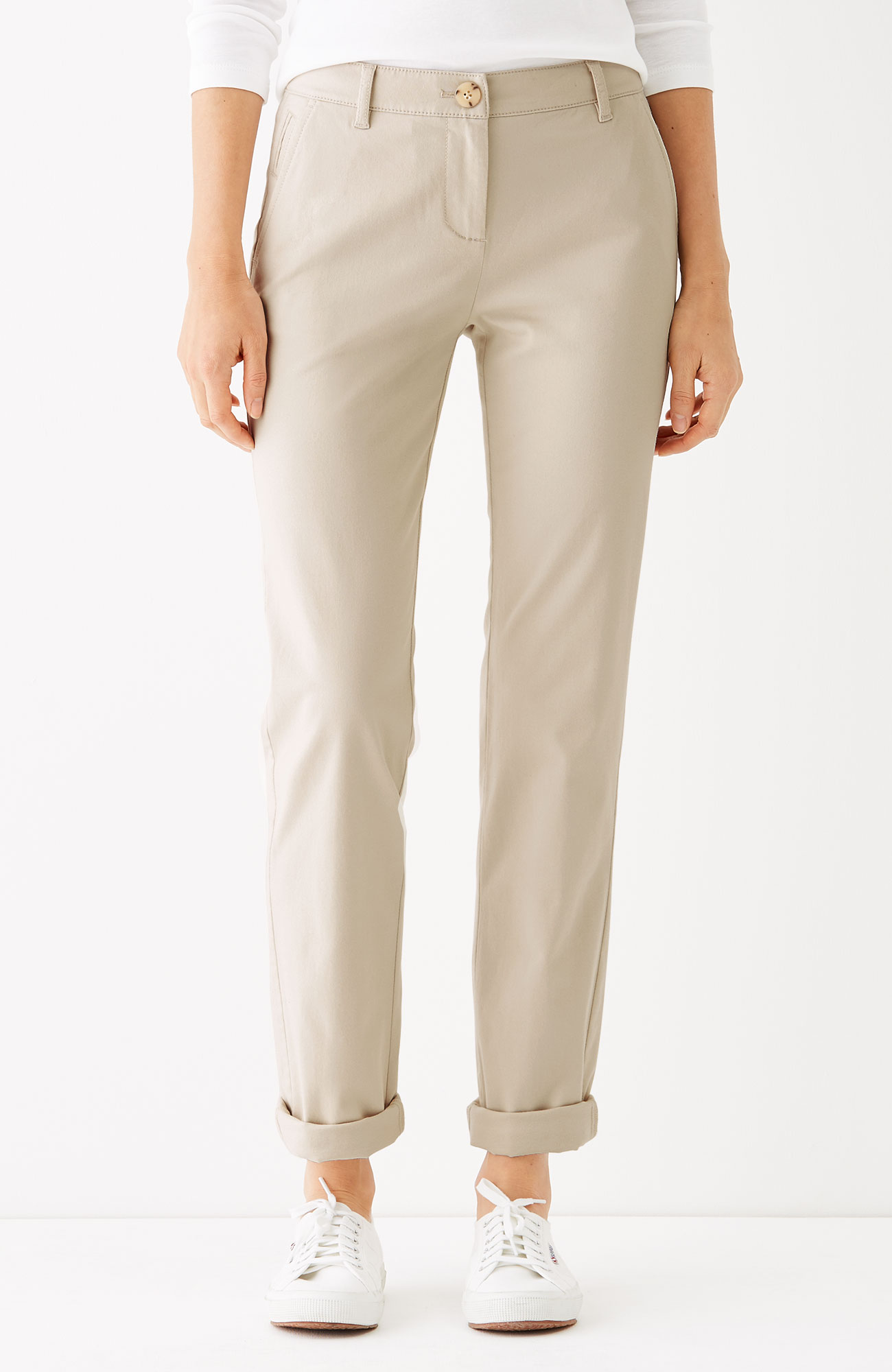 brushed-twill slim boyfriend pants