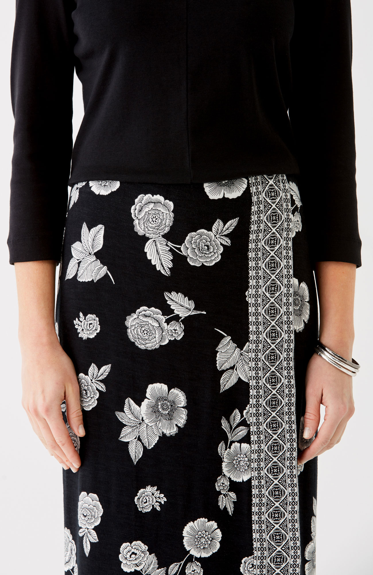 printed wrap-style knit maxi skirt