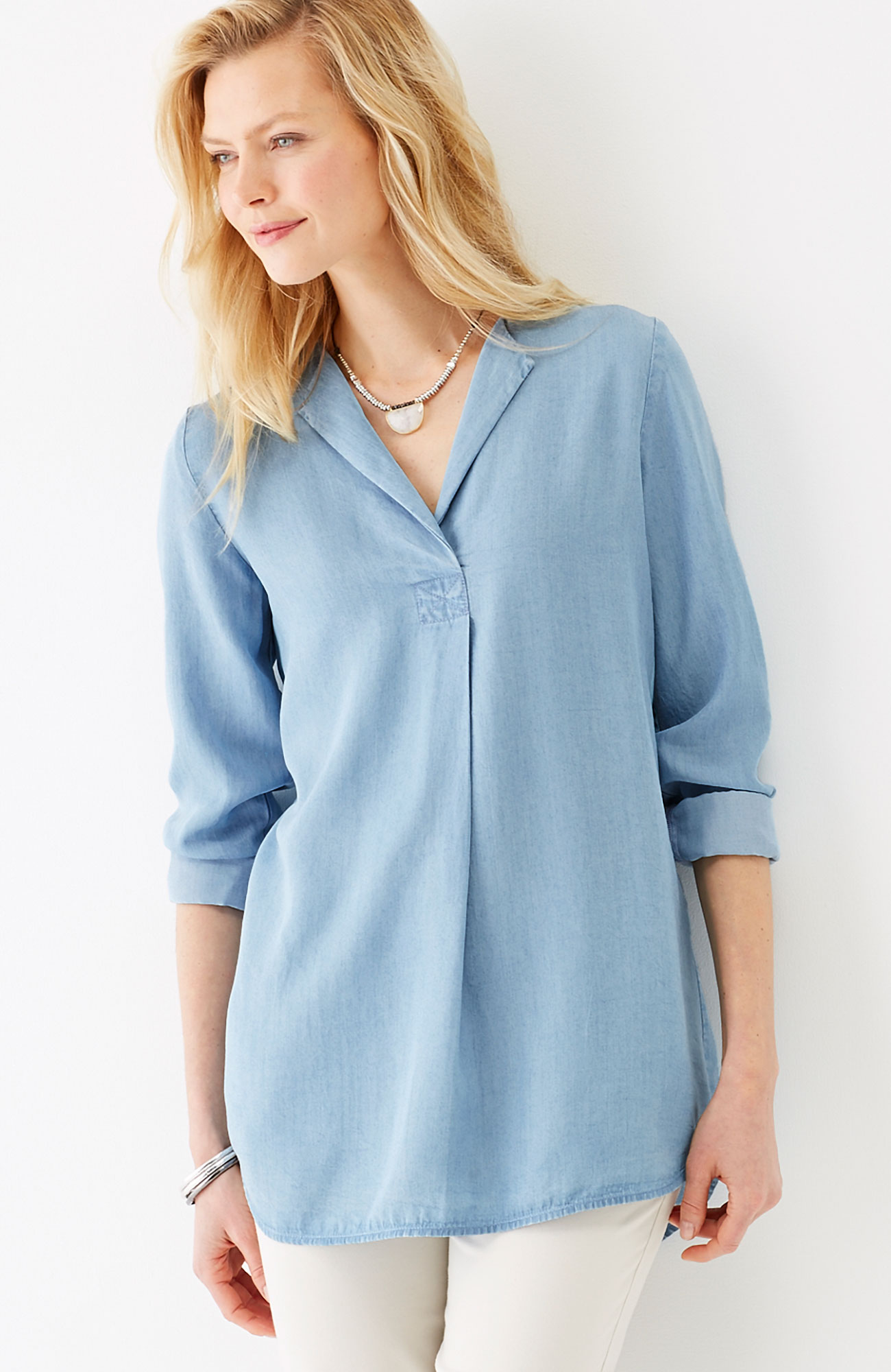 Tencel® indigo pullover top