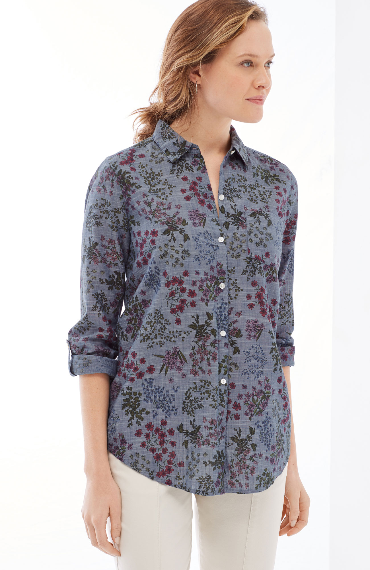 floral pleated-back shirt