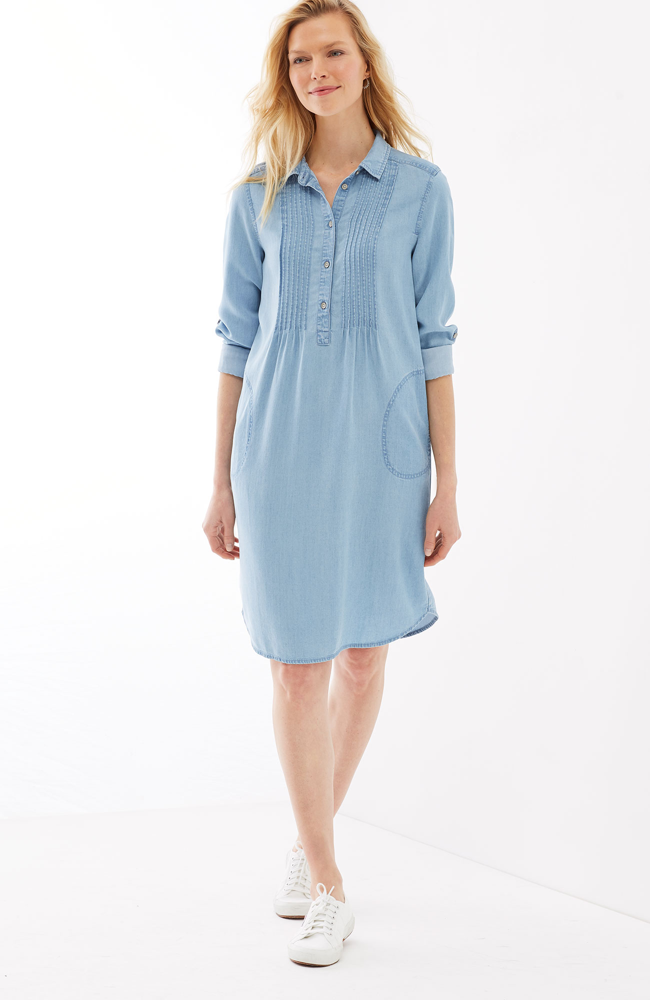 Tencel® indigo pintucked shirtdress