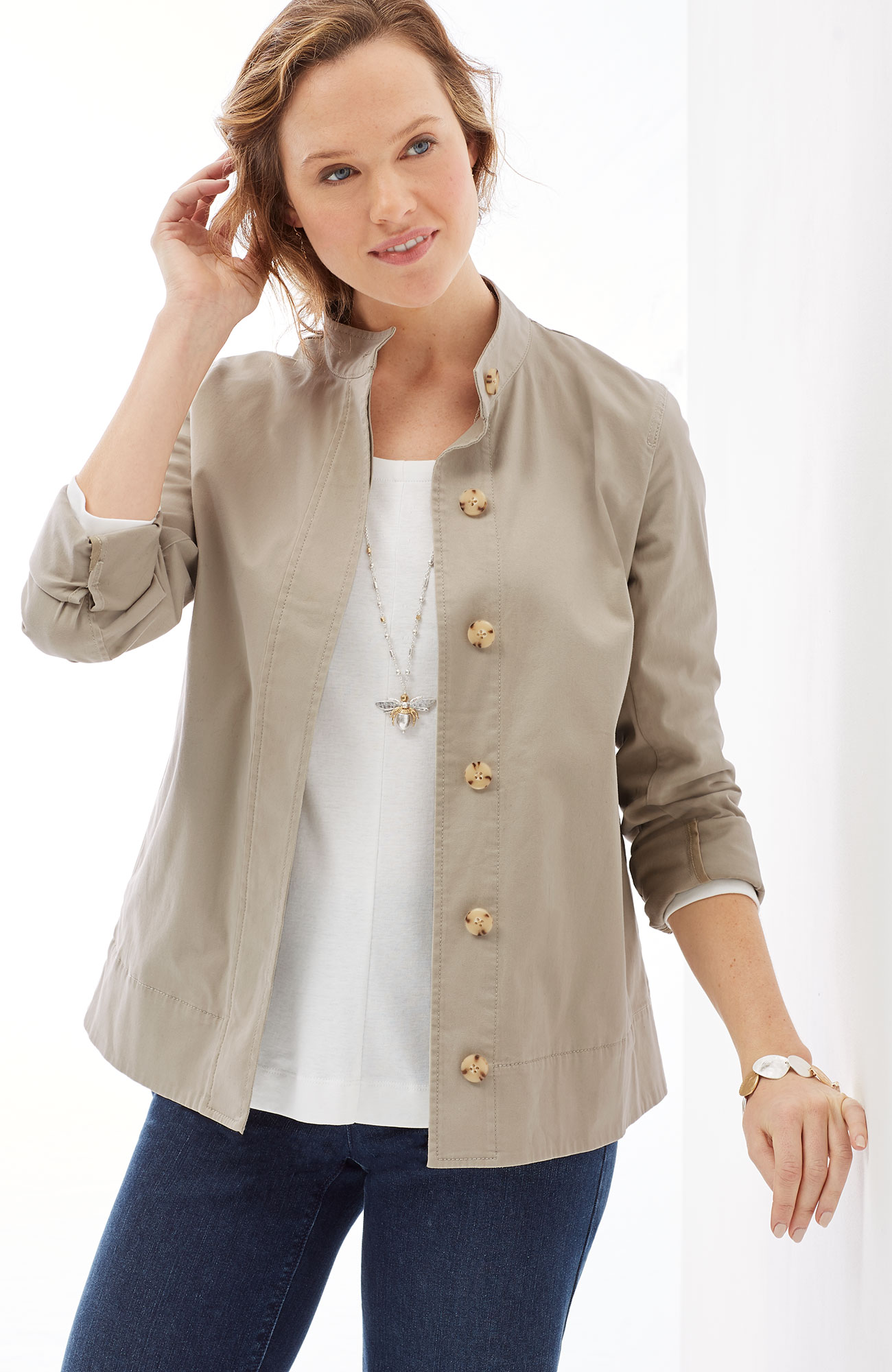 pleated-back jacket