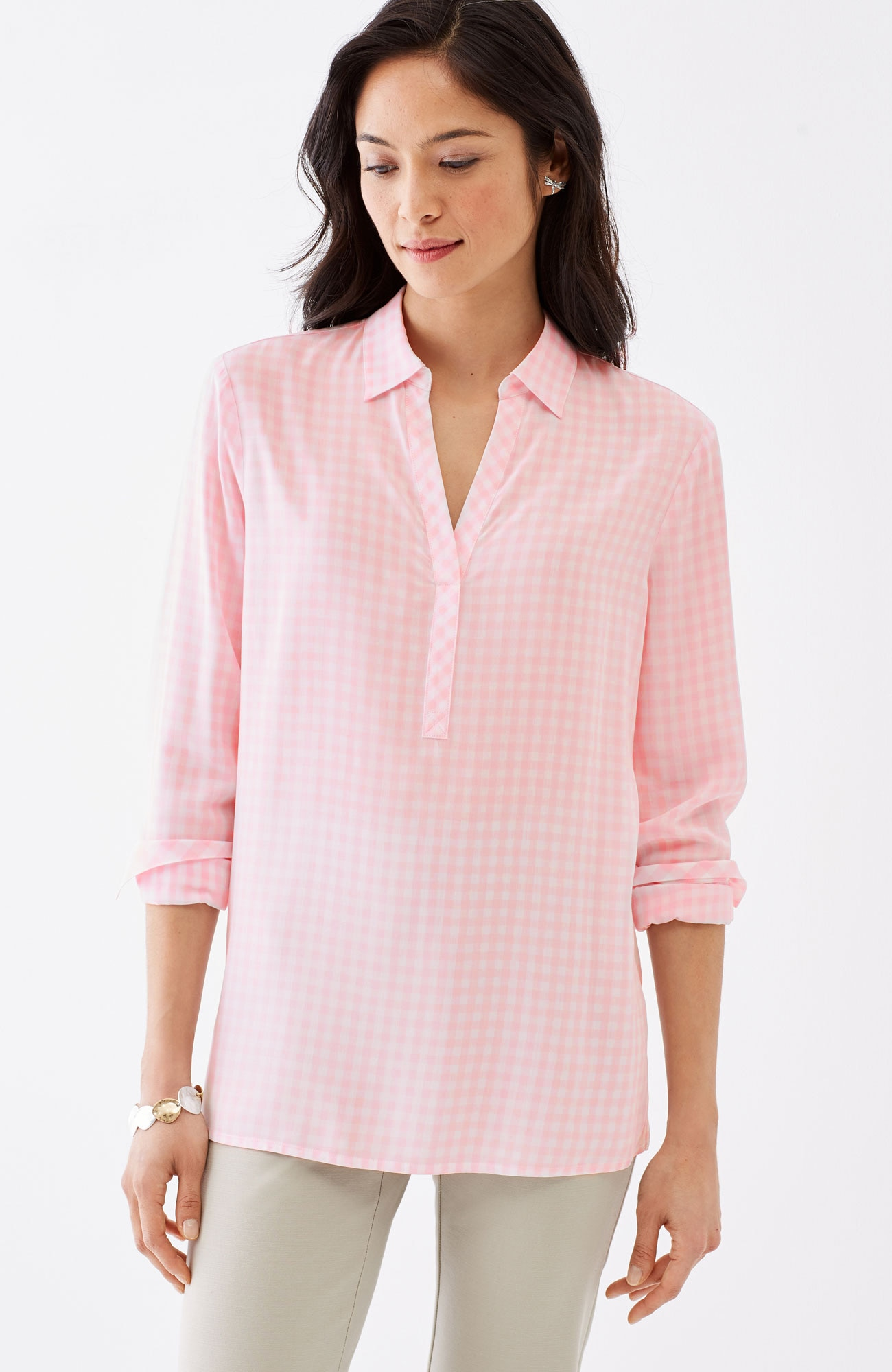 mixed-gingham rayon top