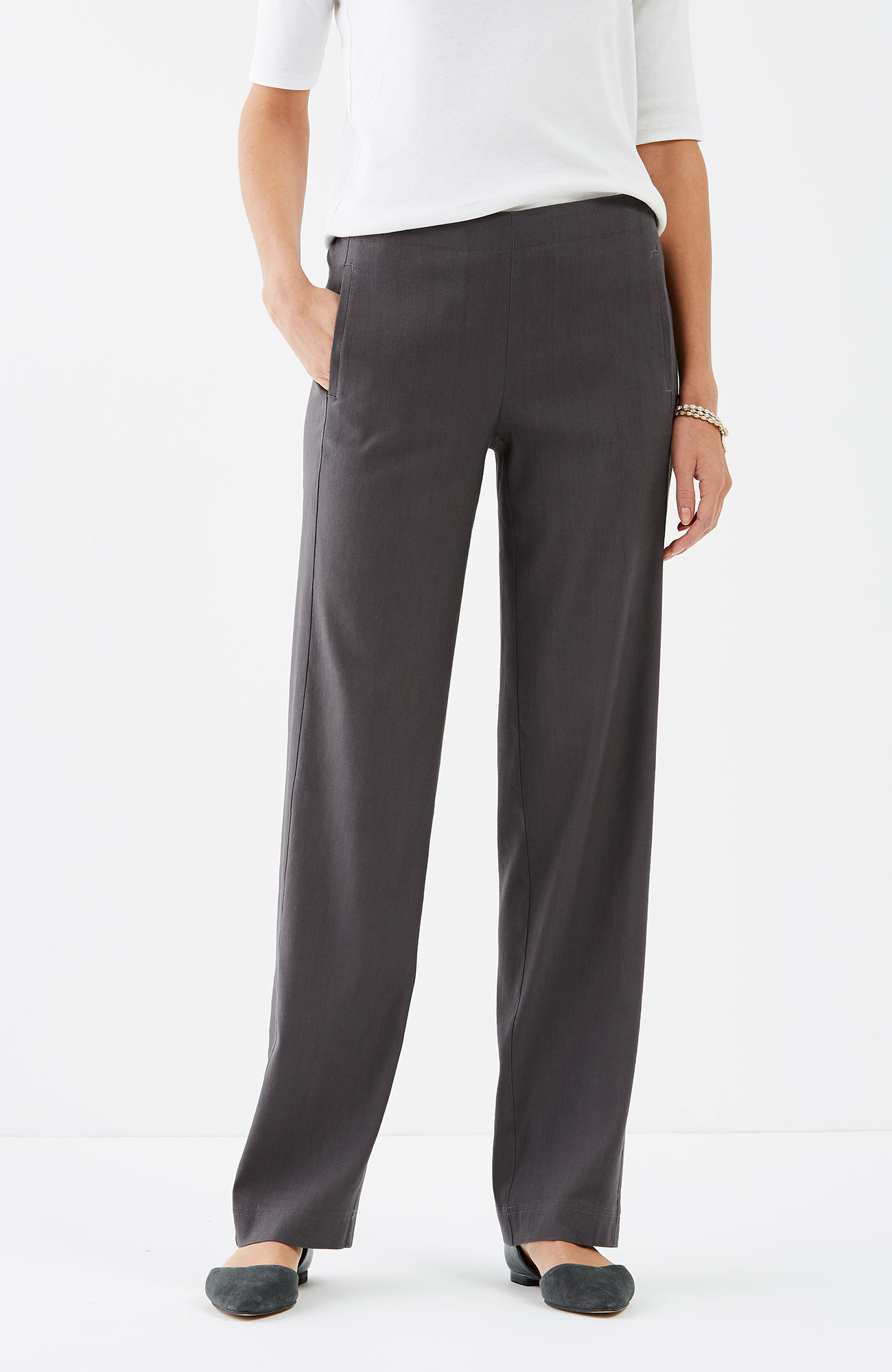 easy linen-stretch flat-front pants