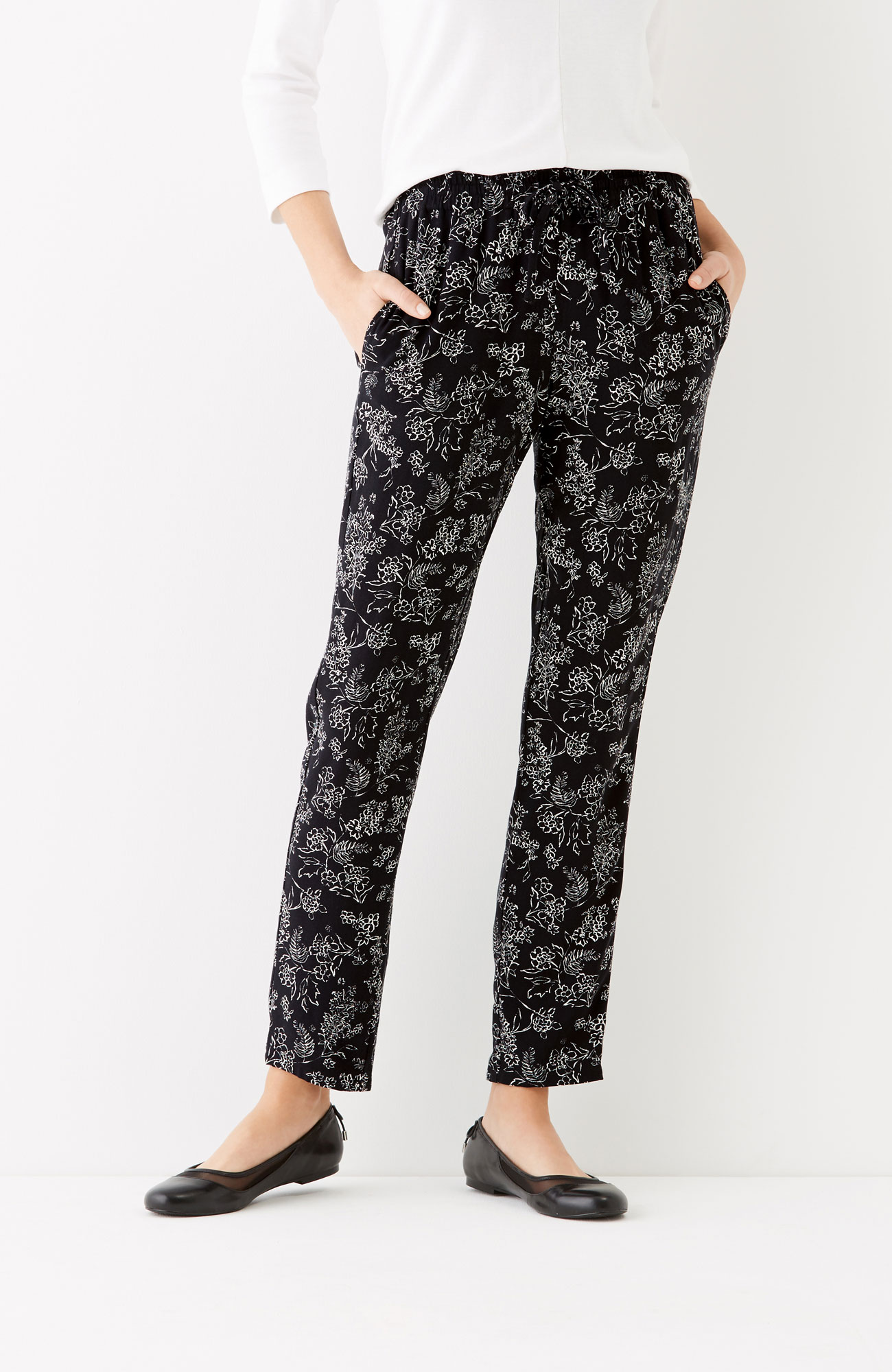 soft rayon-twill ankle pants