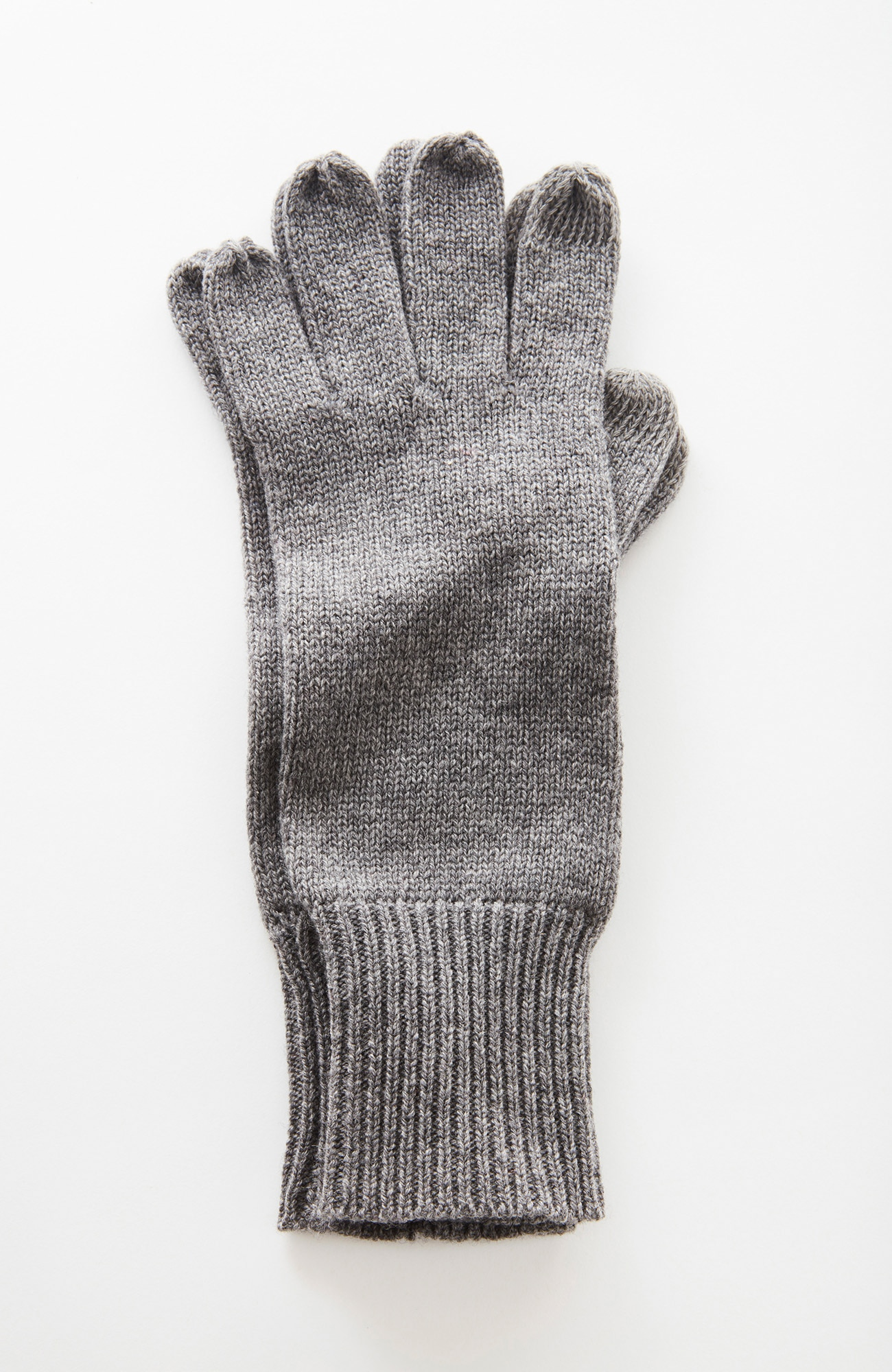 ribbed wool & cashmere smart gloves