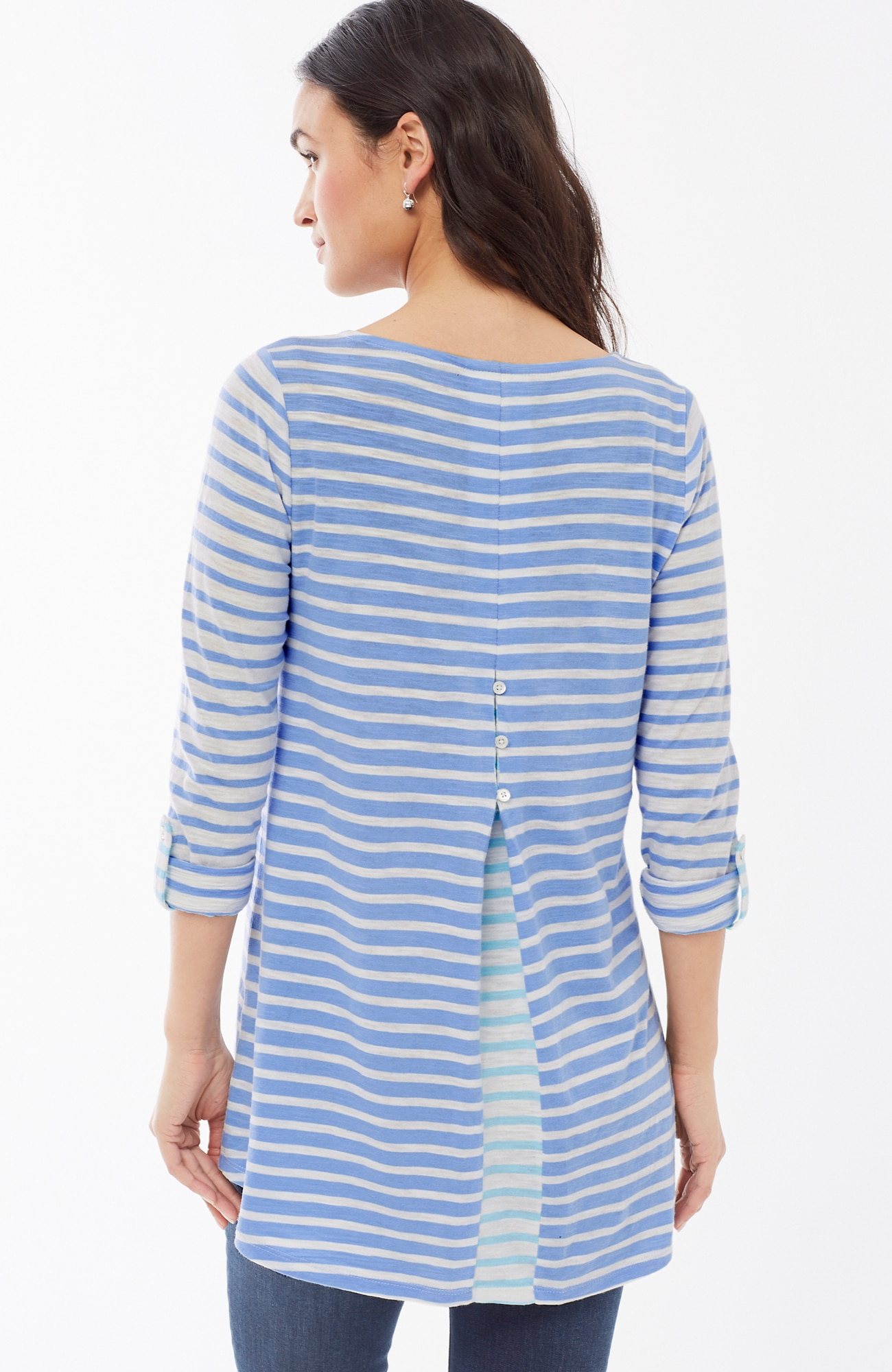 tab-sleeve button-back knit tunic