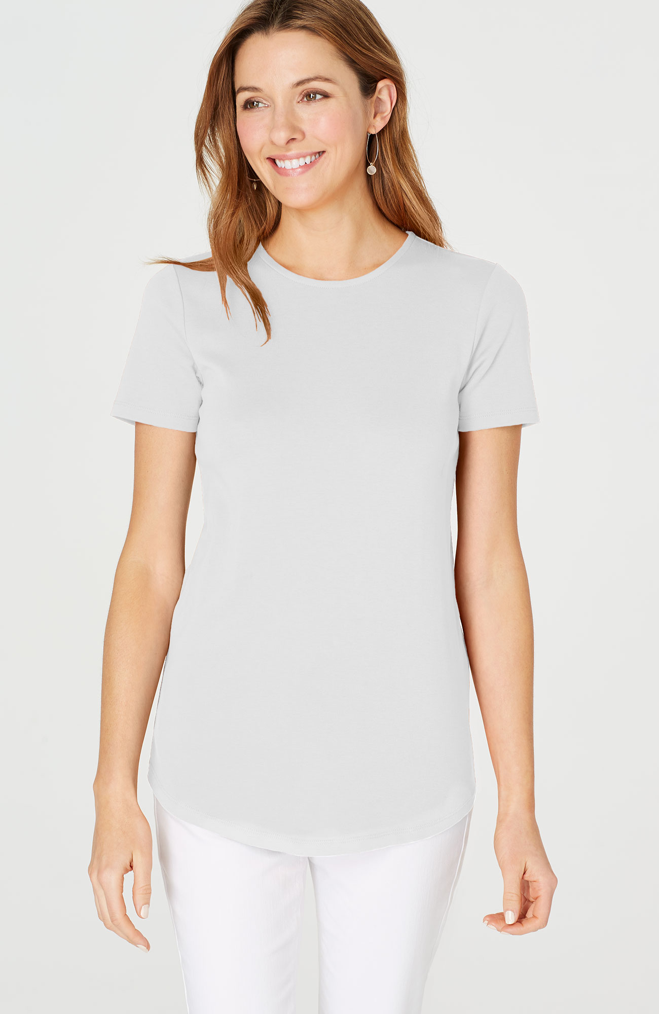 perfect pima crew-neck shirttail tee