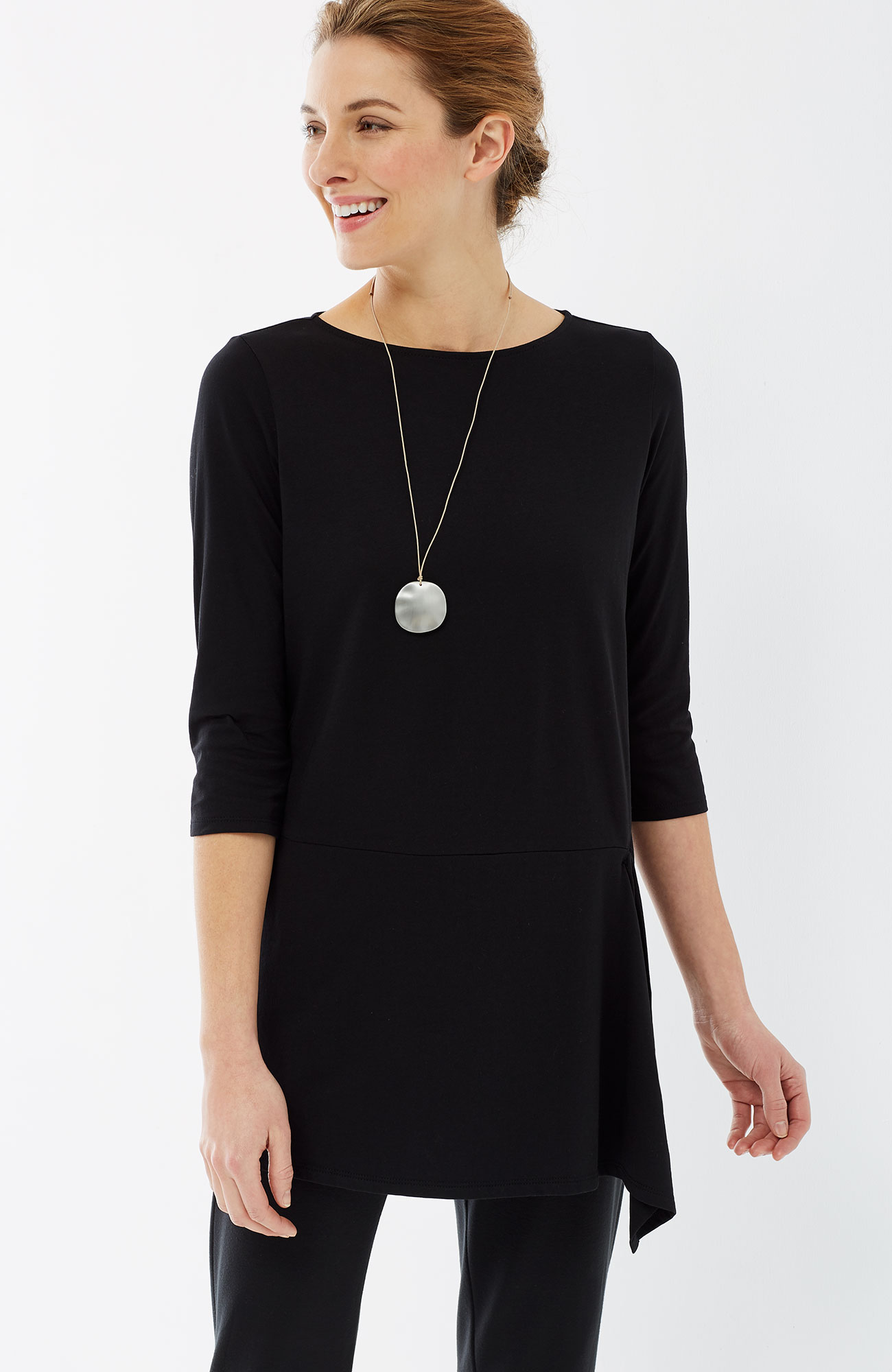 Pure Jill draped-front elbow-sleeve tunic