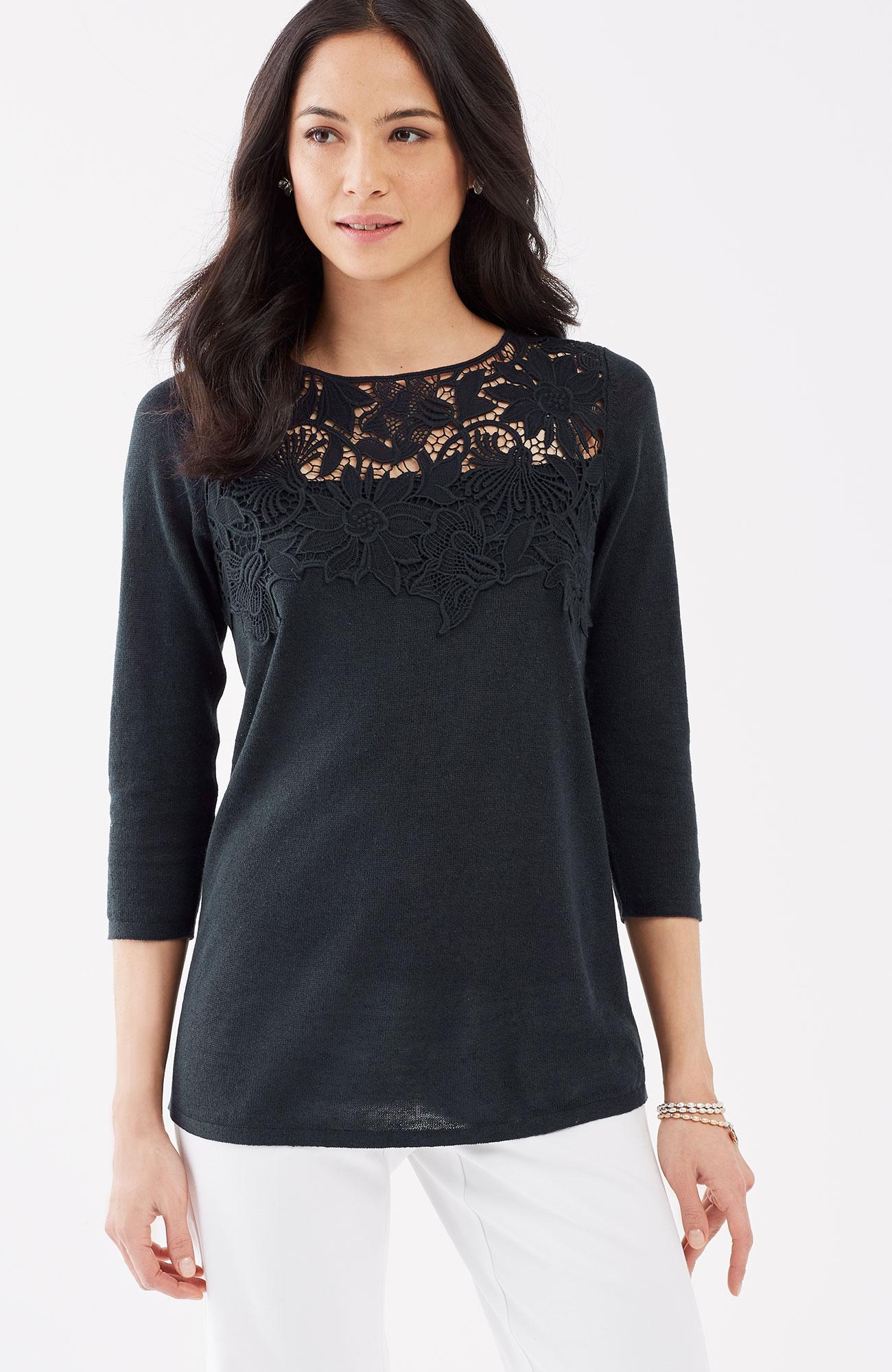 lace-appliqué pullover