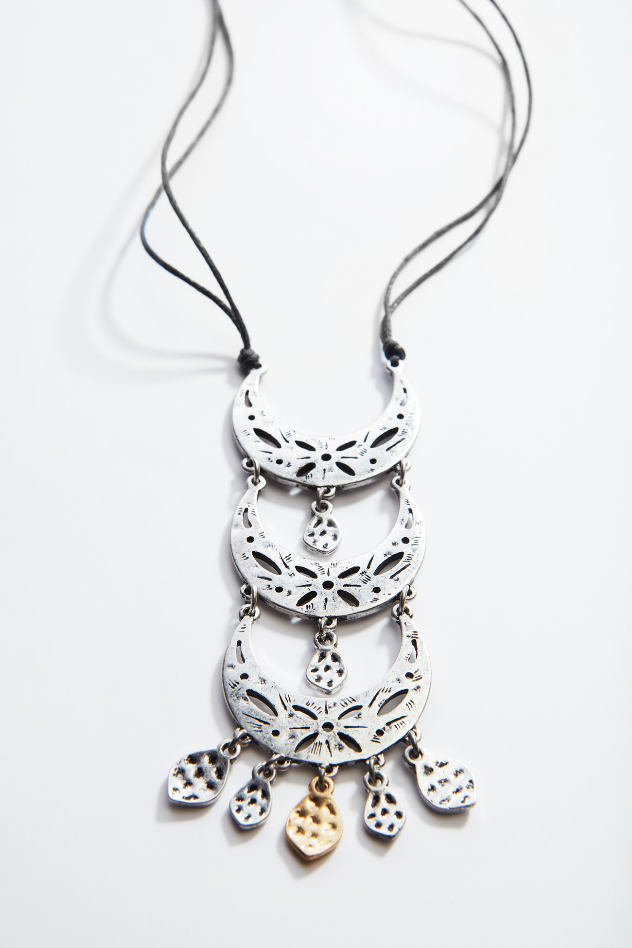 antiqued-metal crescent necklace