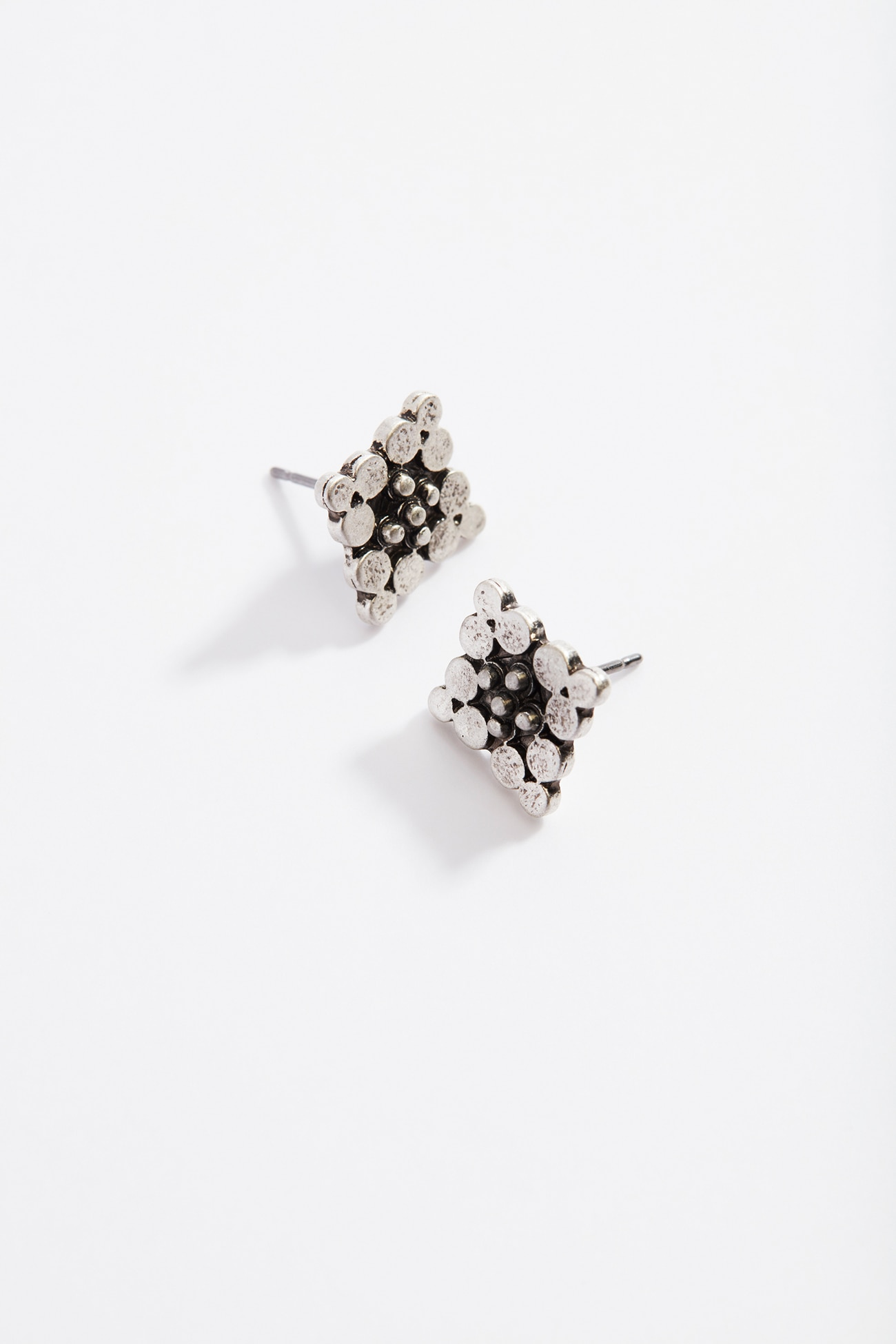 antiqued-metal stud earrings
