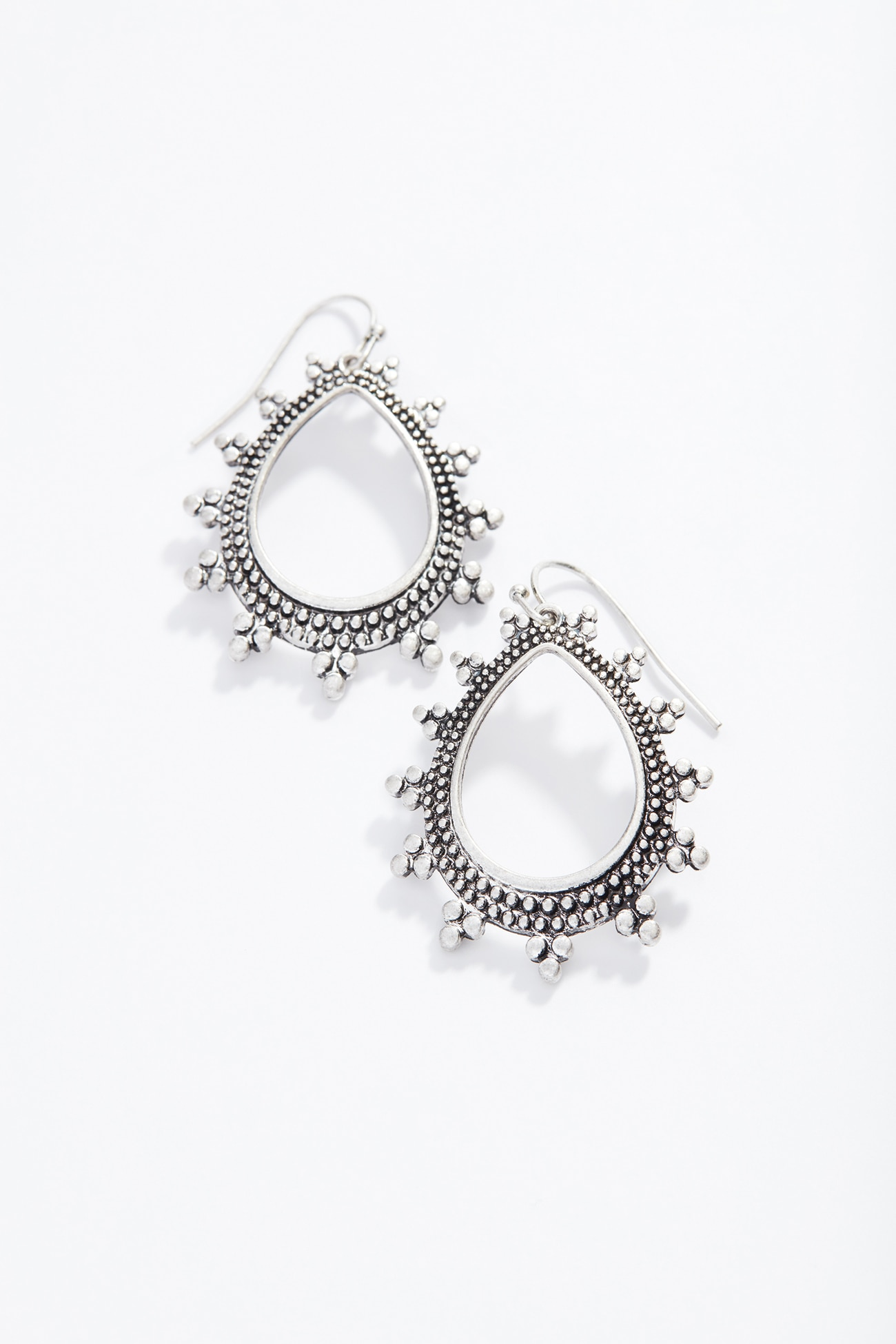 antiqued-metal teardrop earrings