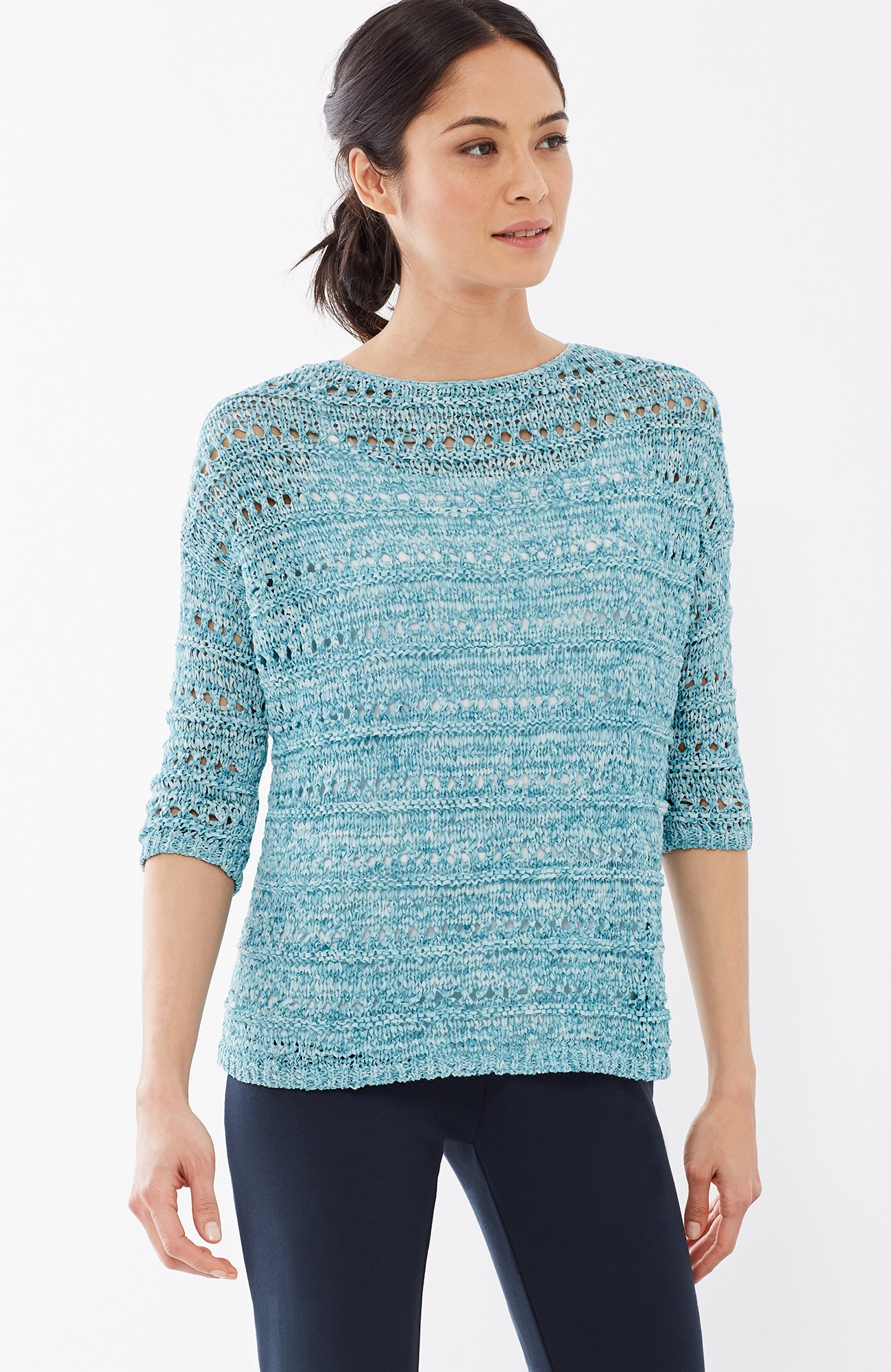 Pure Jill open-stitch relaxed pullover
