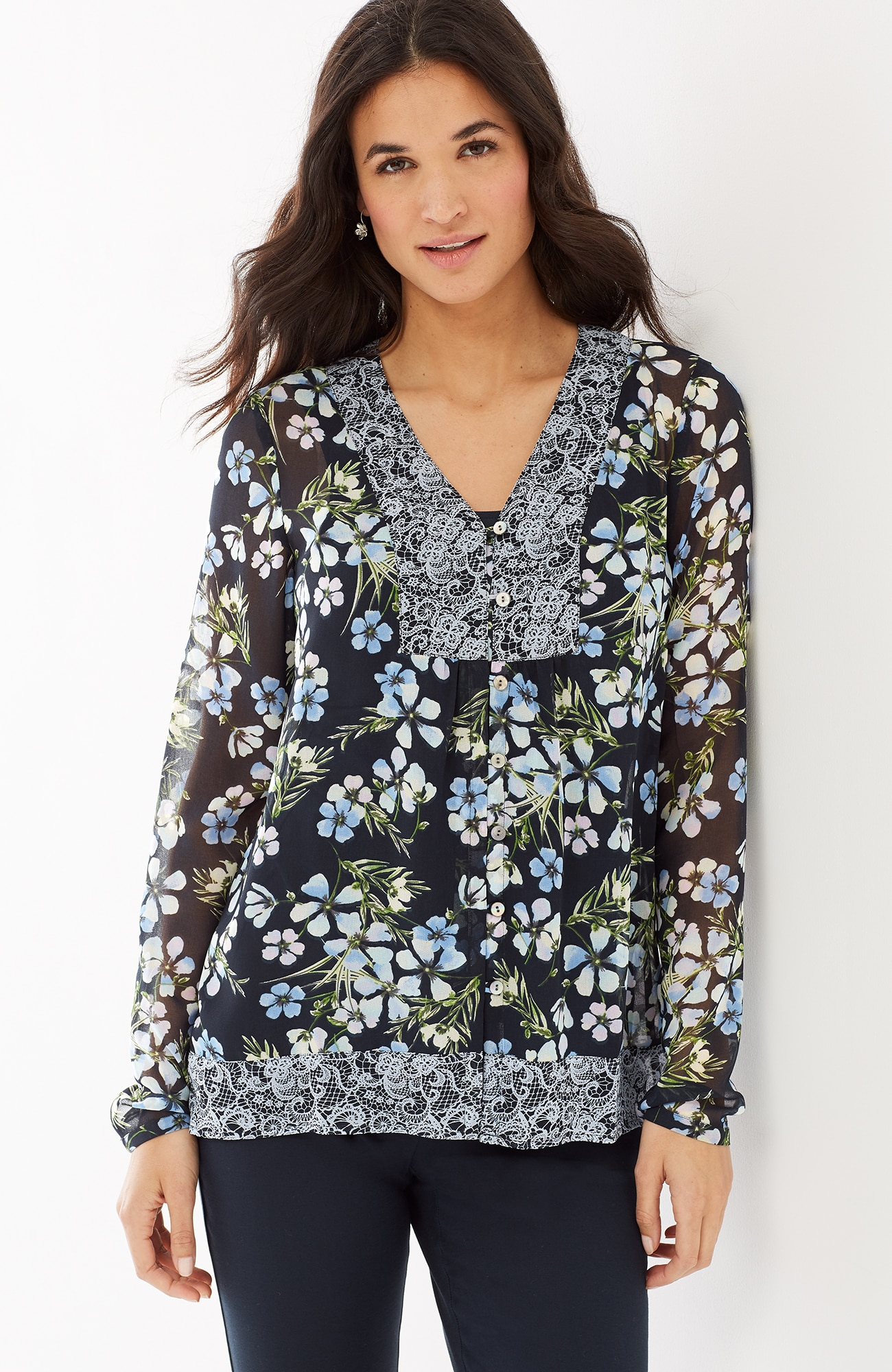 light & breezy mixed-print top