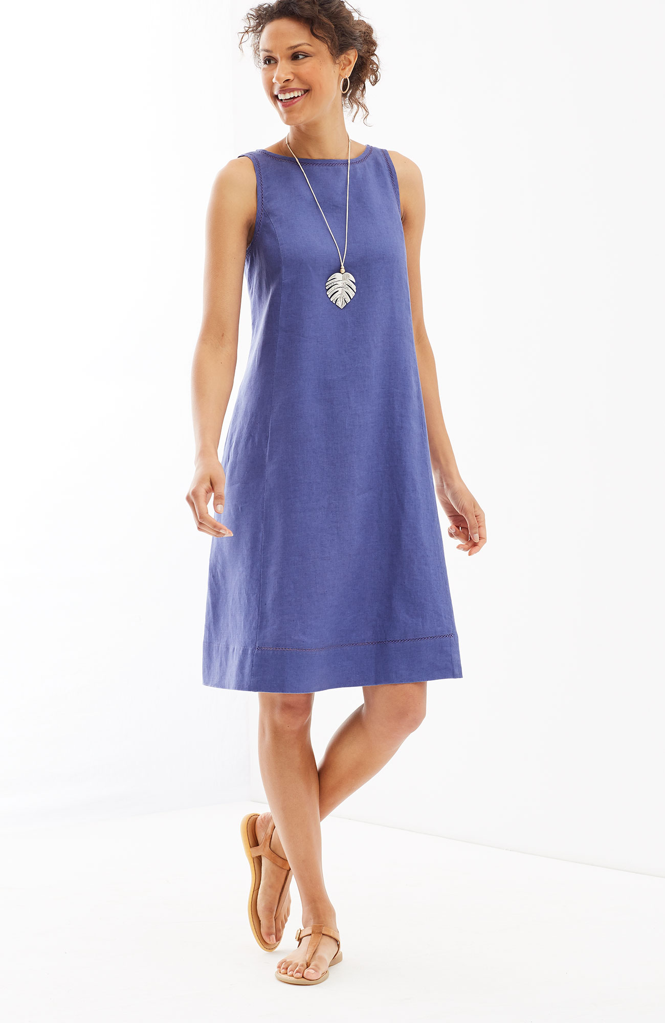 linen A-line sleeveless dress
