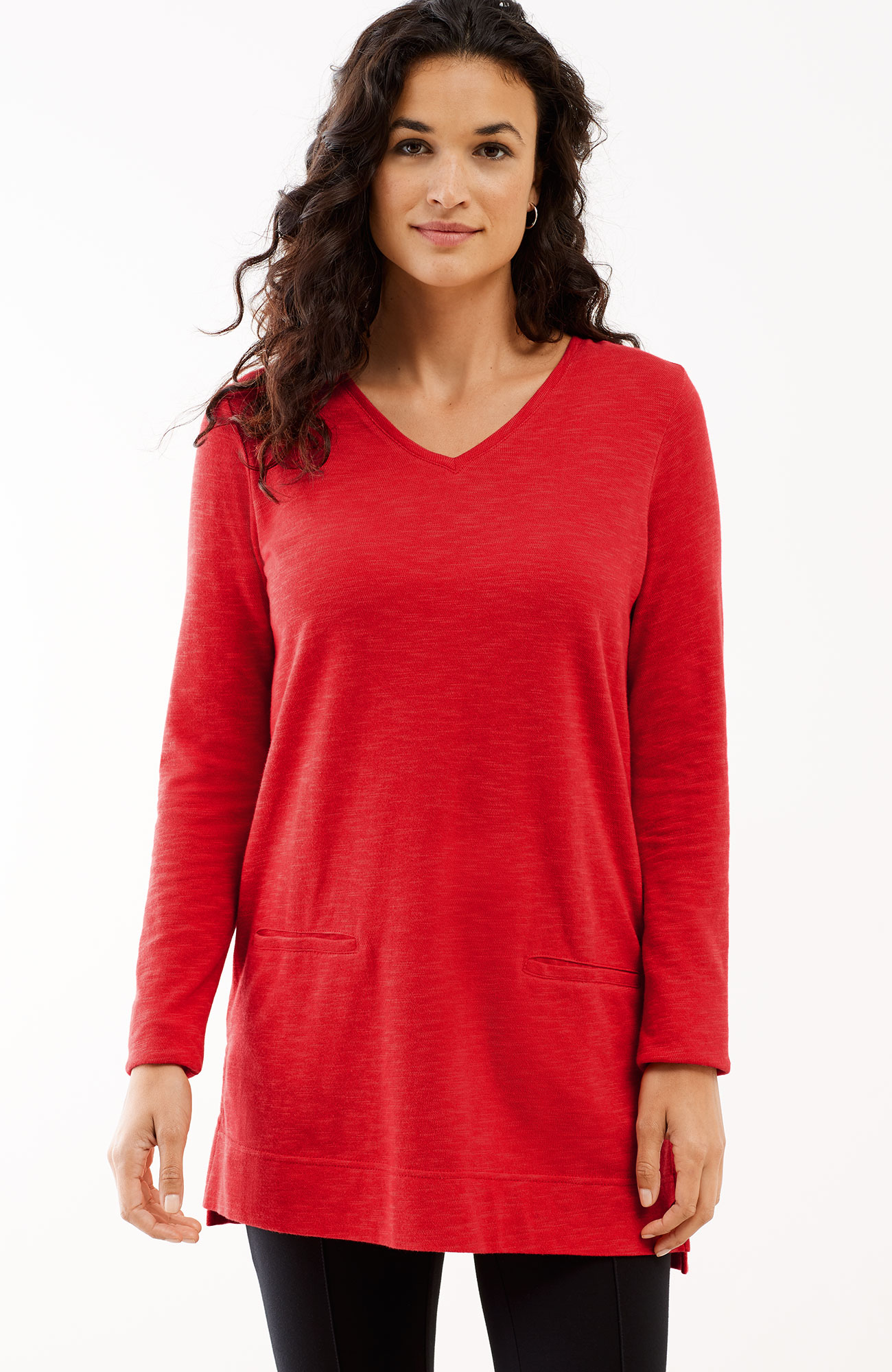 V-neck knit tunic